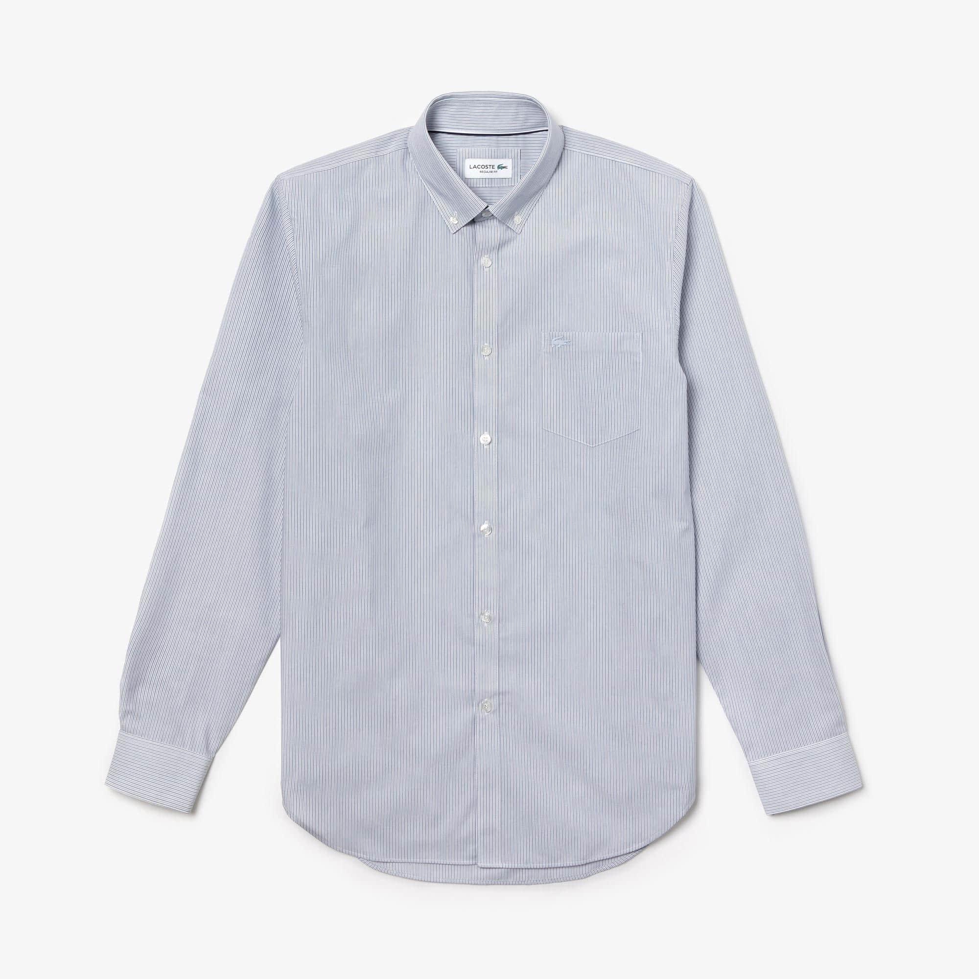 Camisa De Hombre Regular Fit En Popelín De Algodón De Rayas