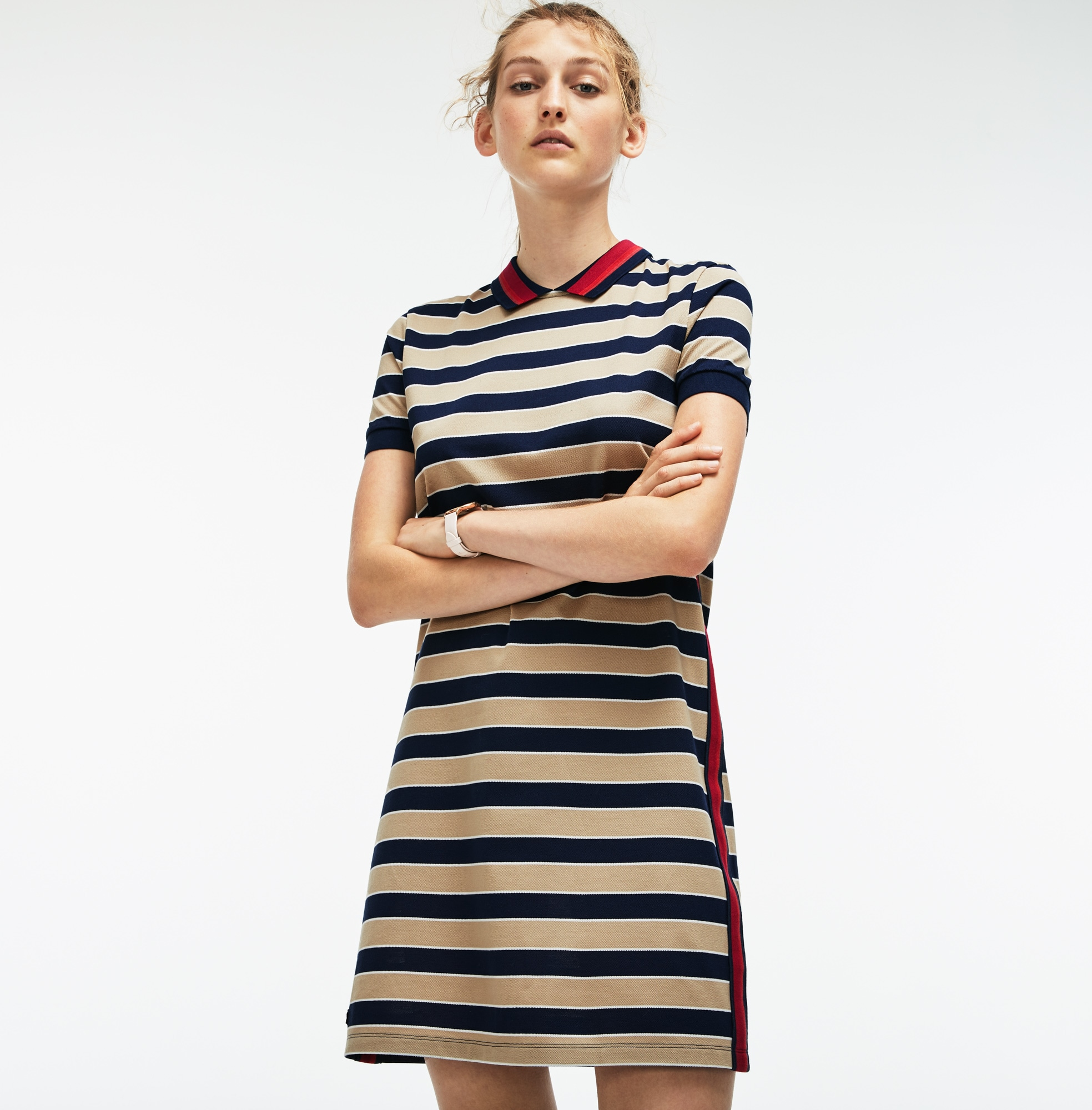 Vestido Polo De Mujer En Piqué De Rayas Con Franjas A Contraste