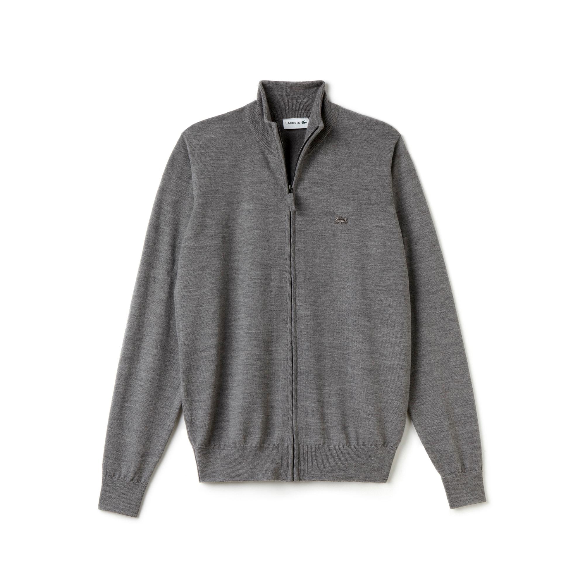 Chaqueta de hombre con cremallera en tejido de punto de lana y cuello subido