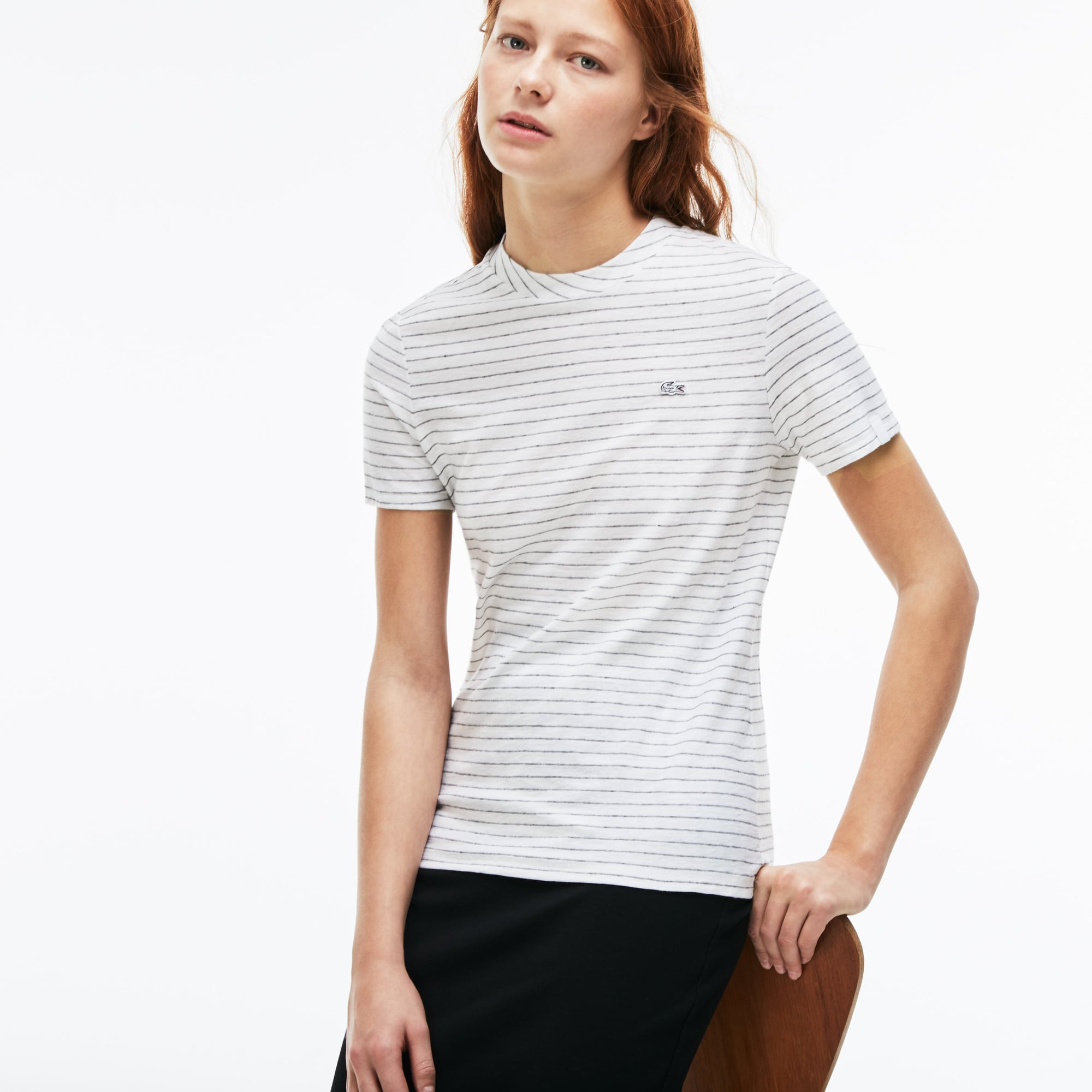 Camiseta Mujer Rayas Slim Fit Lacoste Live