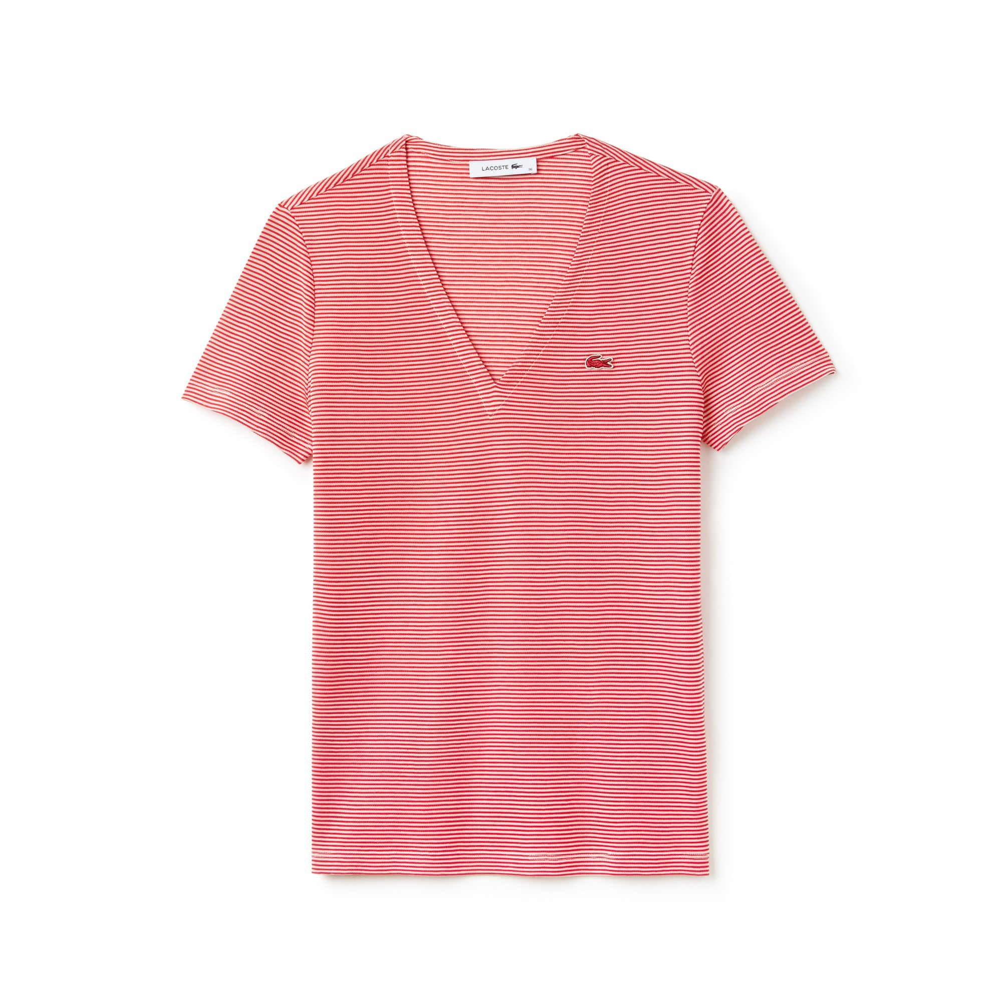 Camiseta Mujer Rayas Cuello Pico