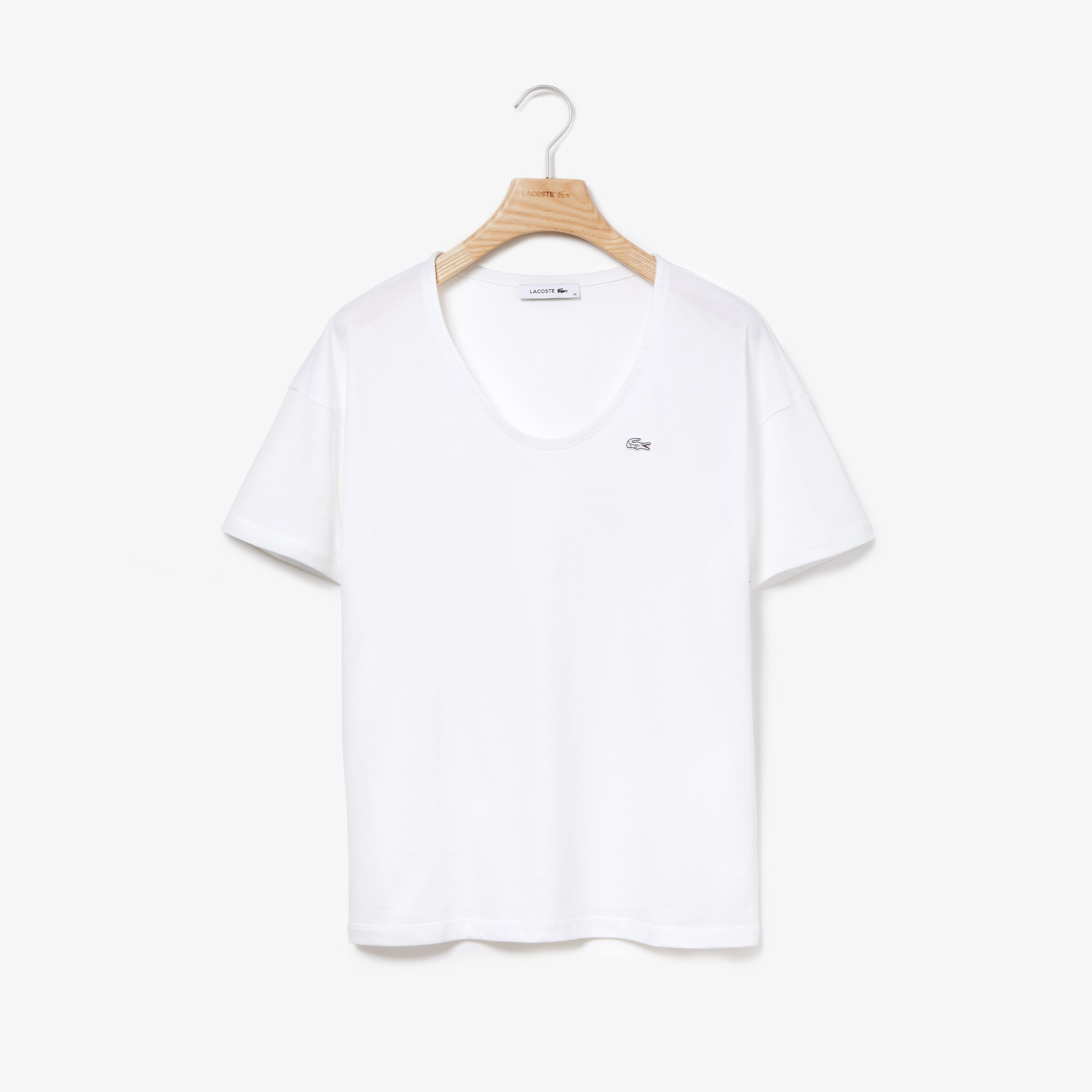 Camiseta De Cuello Amplio De Punto De Algodón Flexible Liso