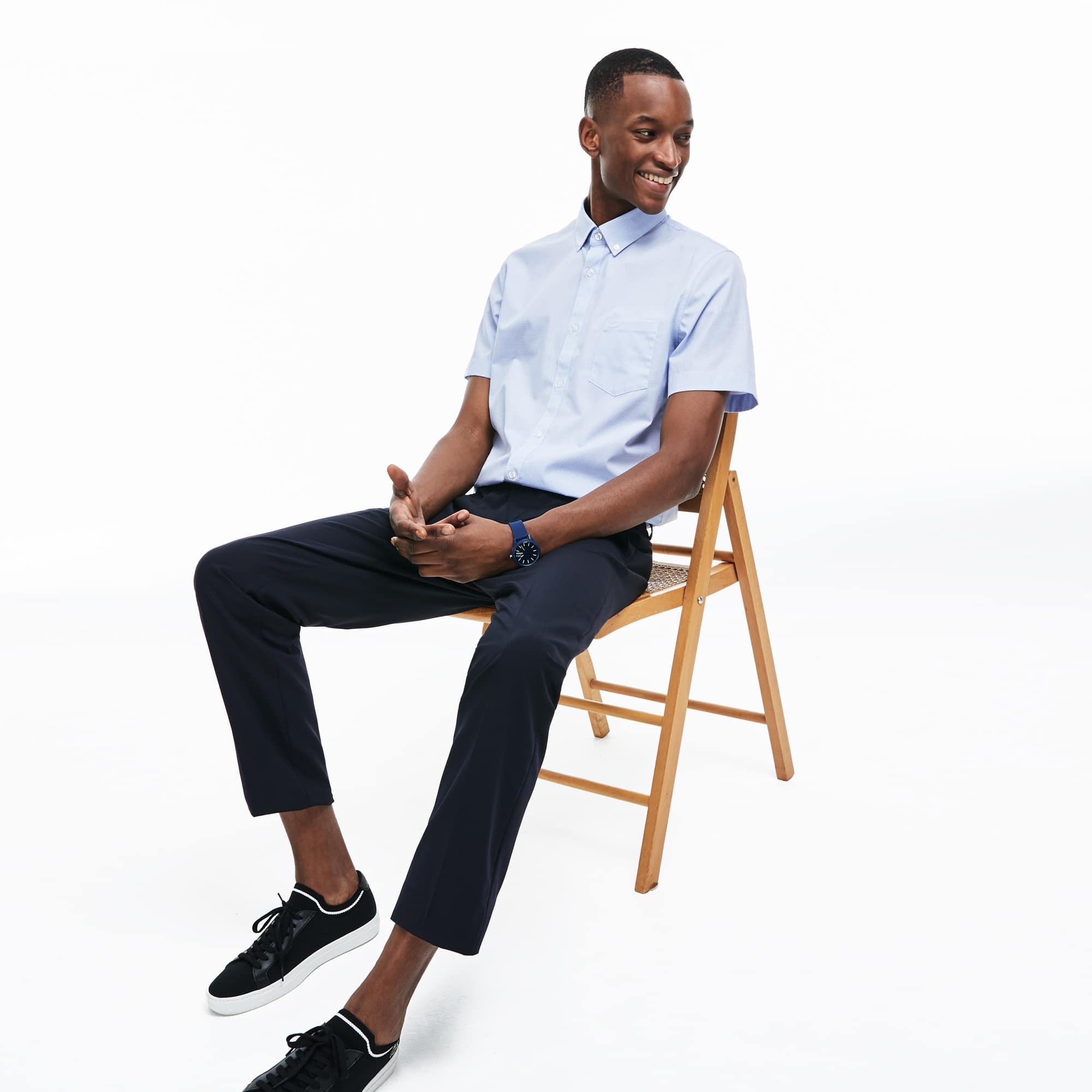 Camisa De Hombre Regular Fit En Popelín De Cuadros Pequeños