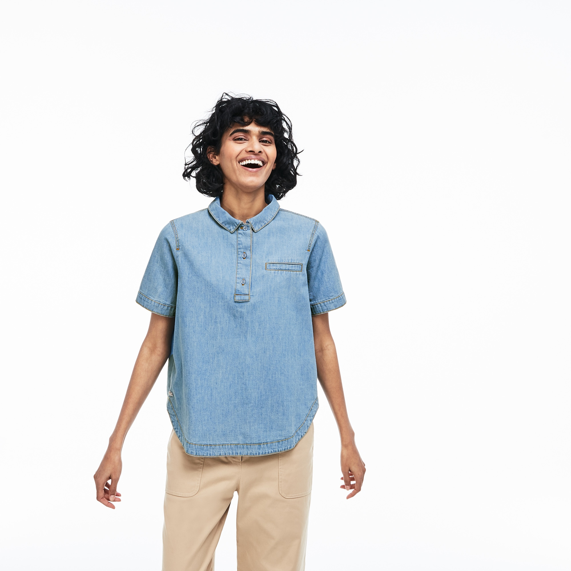 617fb1d1e9689 Camisa tejido vaquero ligero cuello polo