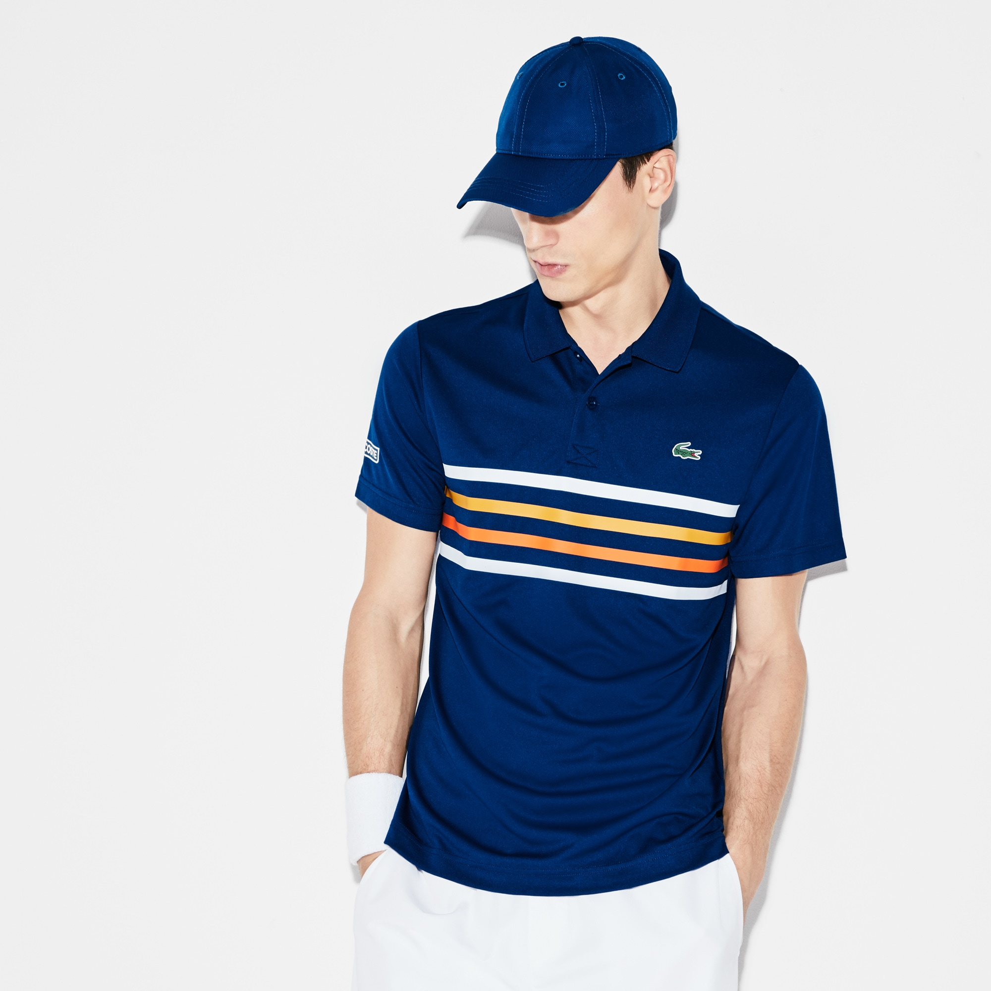 Polo Hombre Tenis Lacoste Sport Con Franjas De Colores
