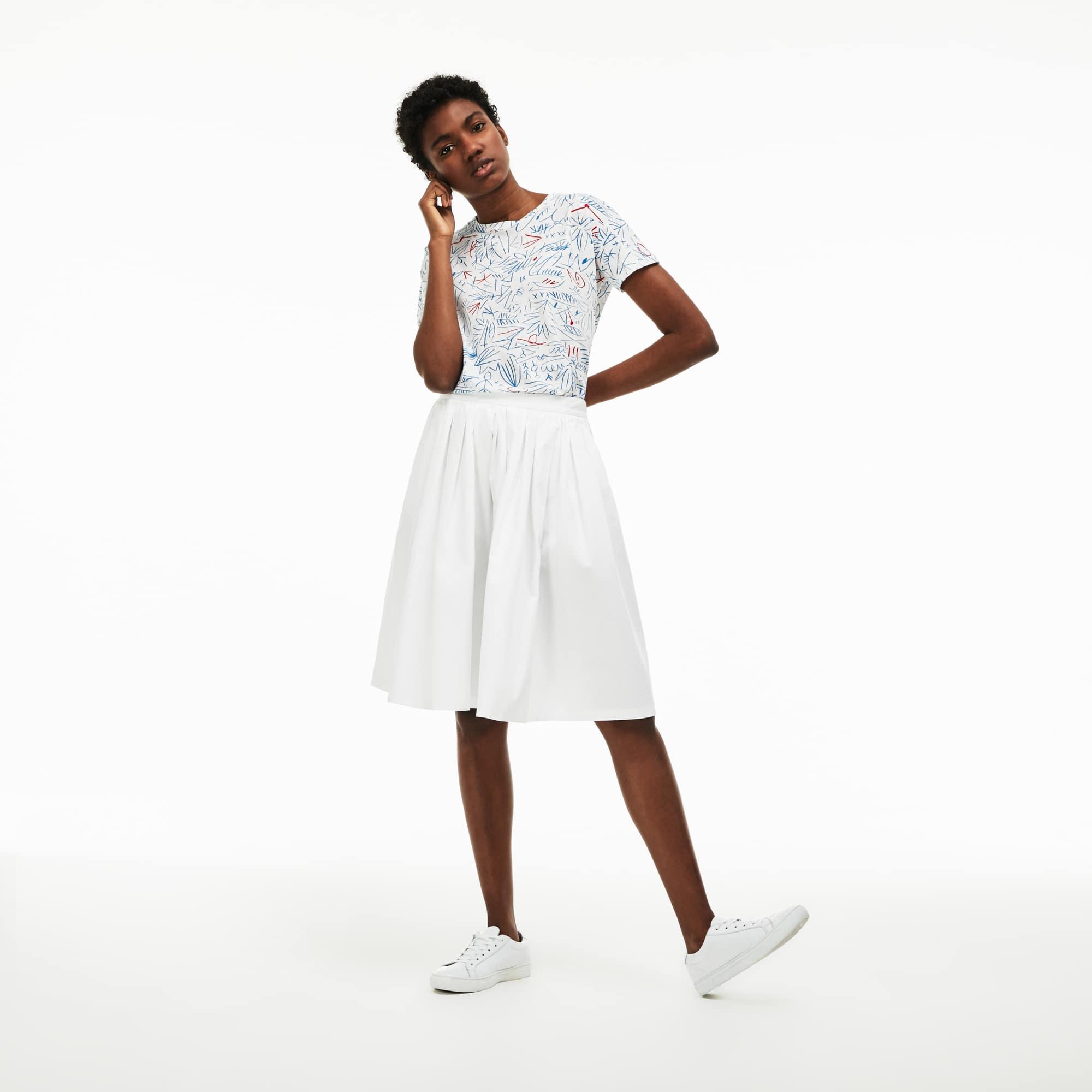 Falda midi en algodón texturizado fruncido