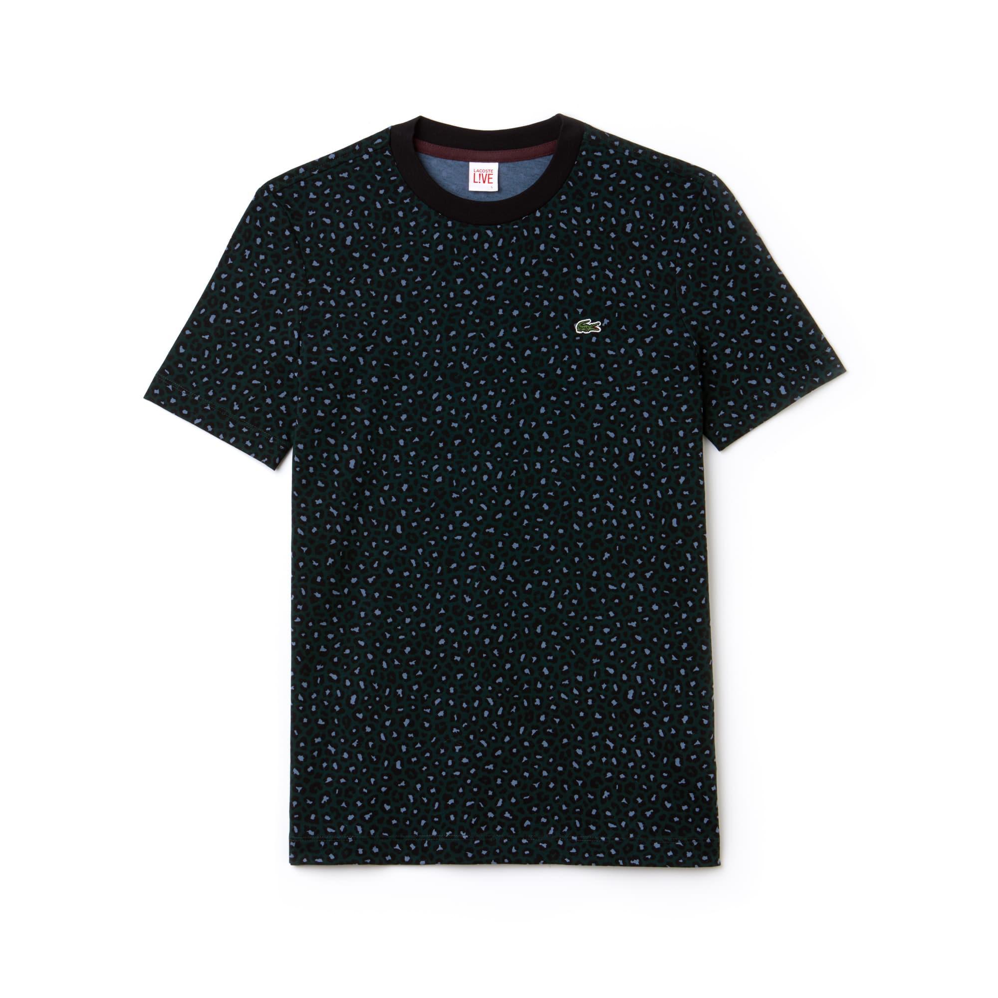 Camiseta De Hombre Lacoste LIVE En Tejido De Punto Con Estampado De Leopardo Y Cuello Redondo