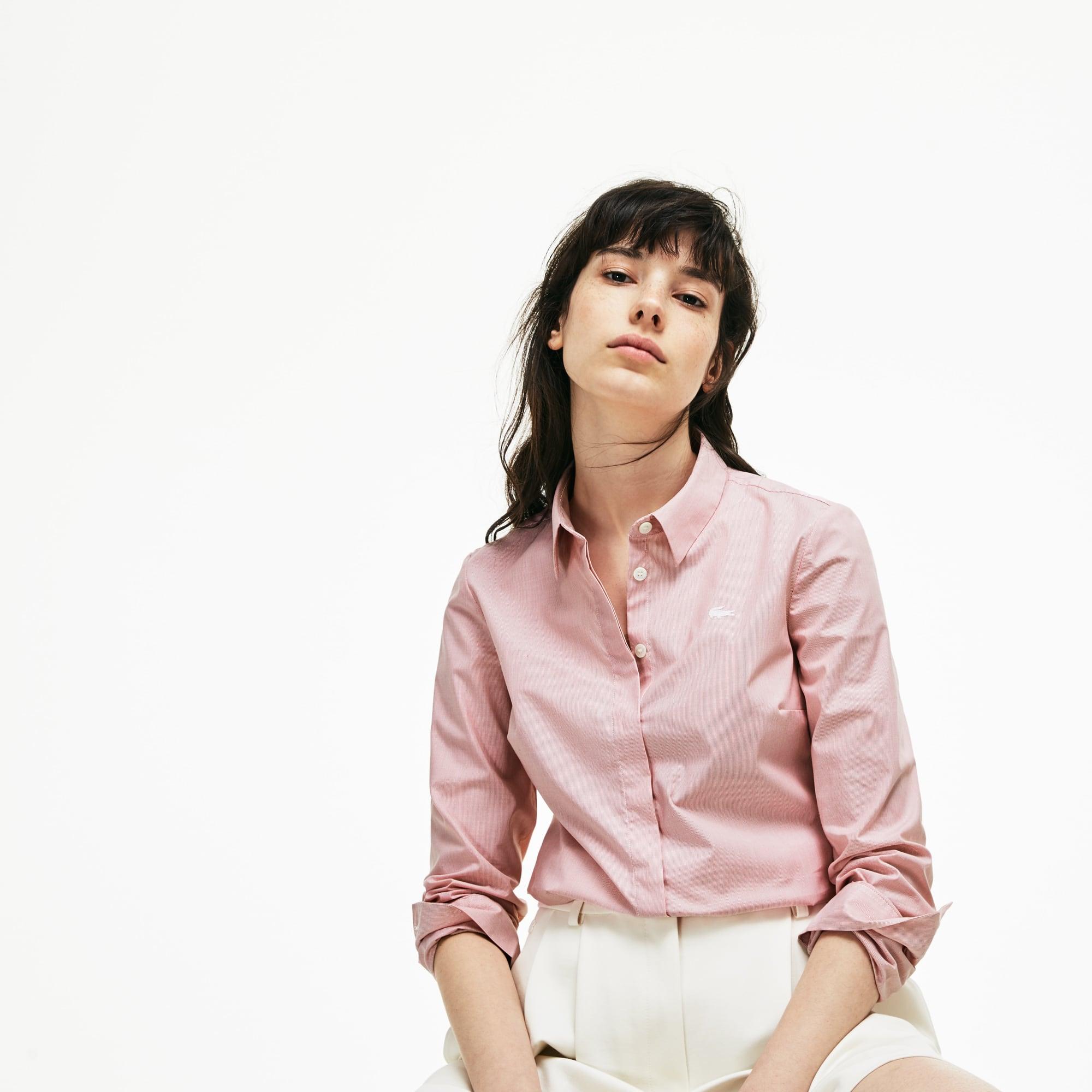 Camisa de mujer slim fit en popelín de algodón elástico de rayas
