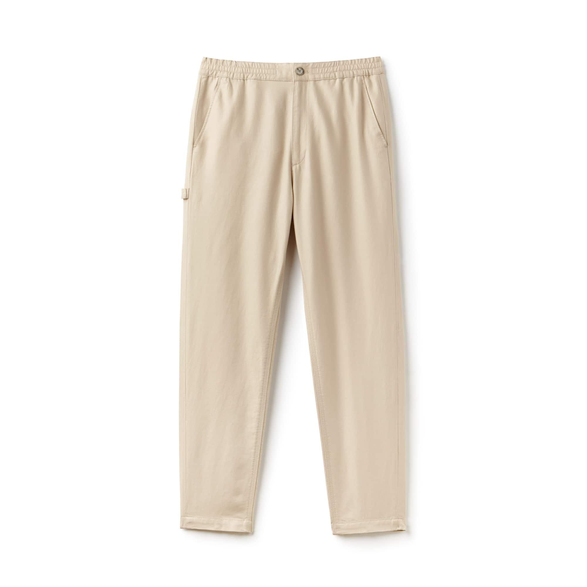 Pantalón chino de sarga de algodón y lino lisa