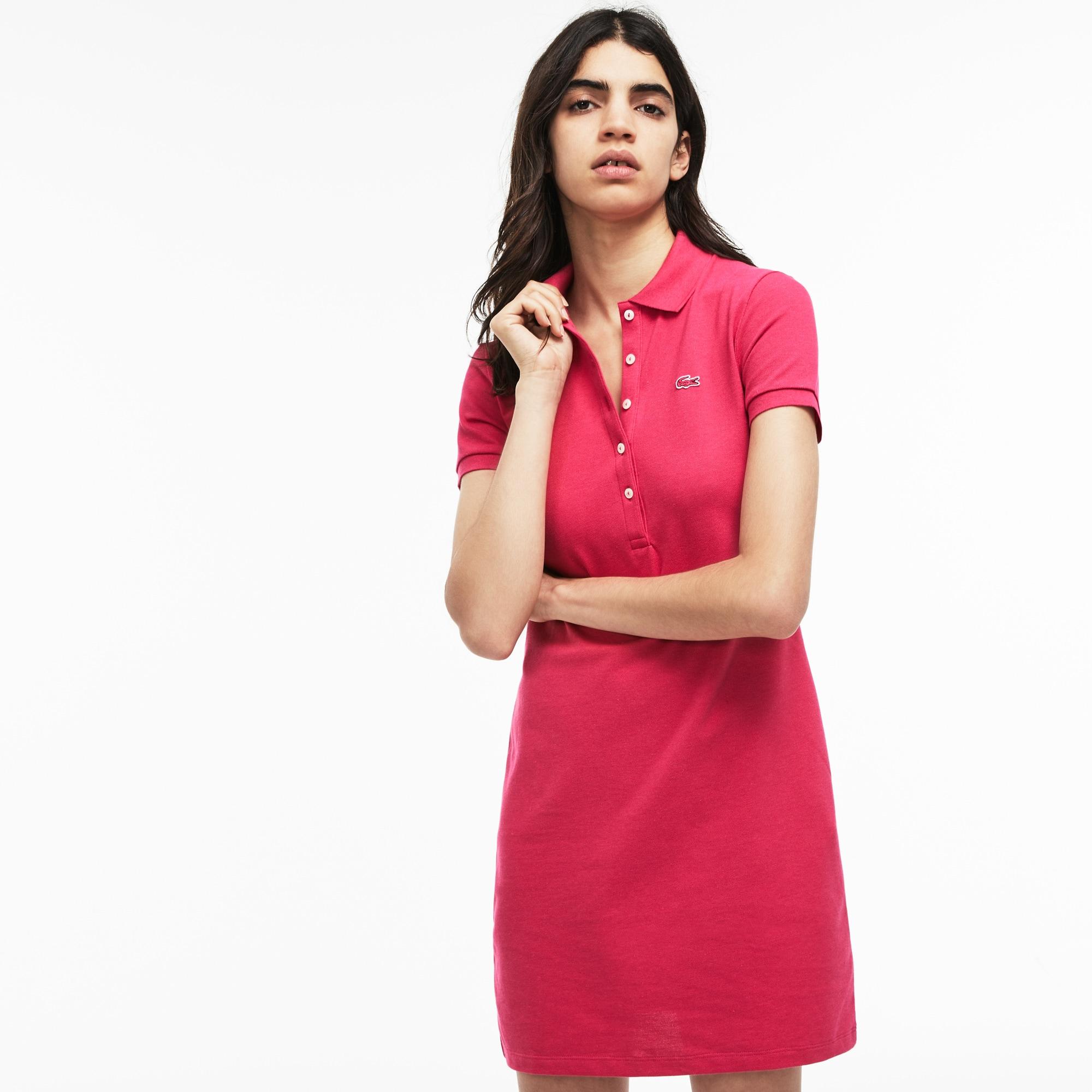 Vestido polo de mujer en mini piqué de algodón elástico
