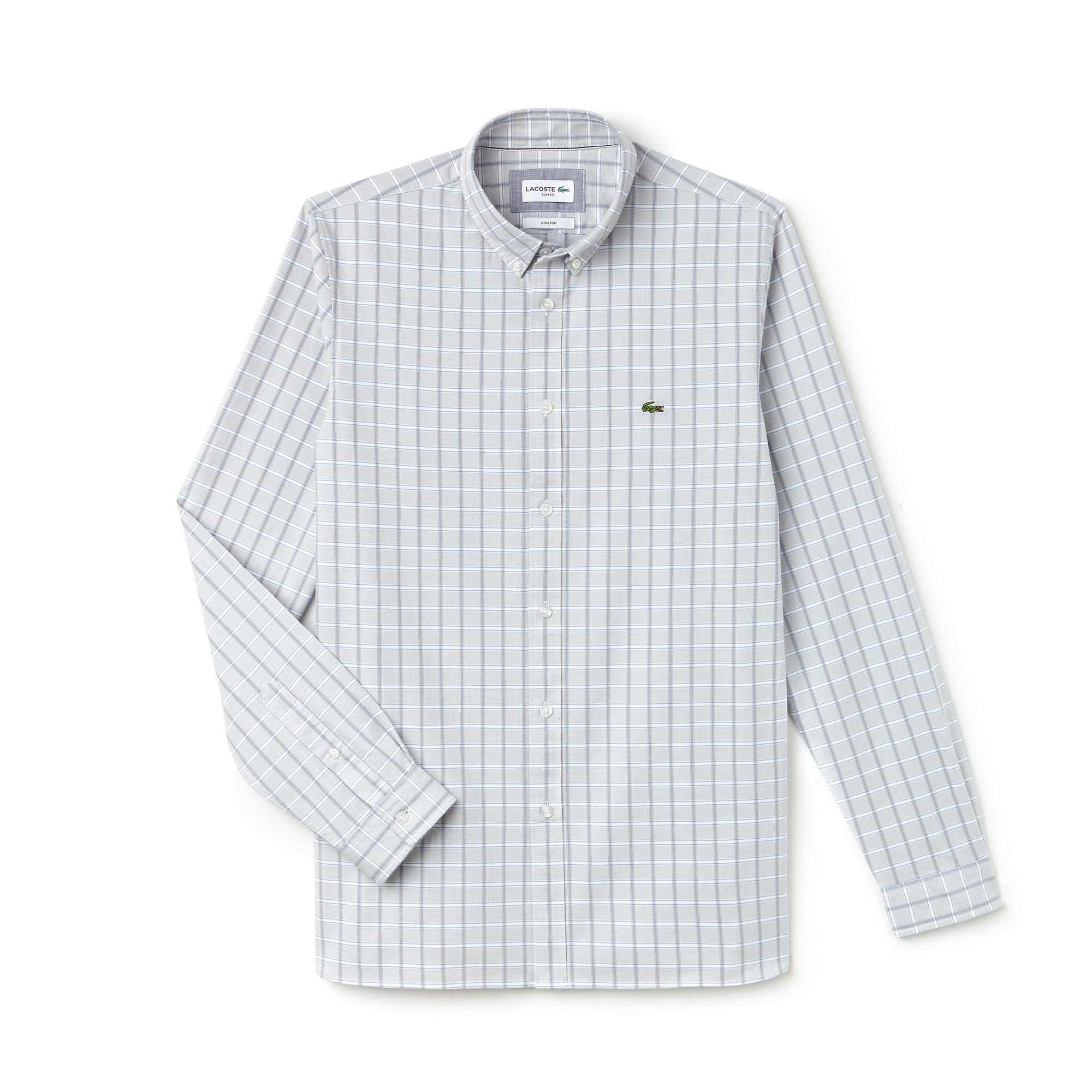 Camisa slim fit de algodón elástico Oxford de cuadros