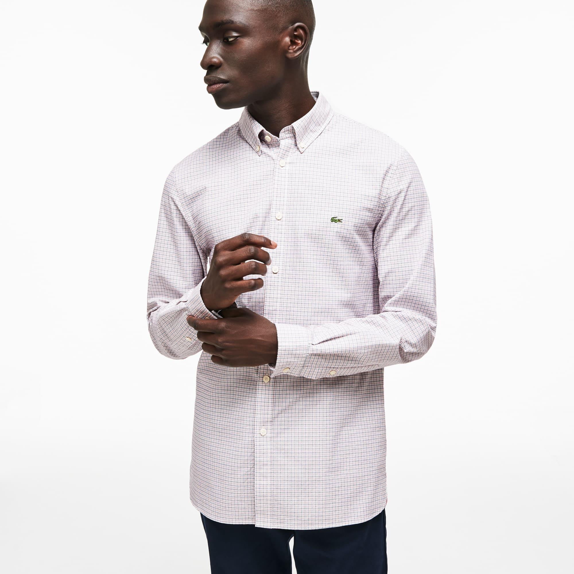 Lacoste - Camisa De Hombre Slim Fit En Algodón Oxford Elástico De Cuadros - 8