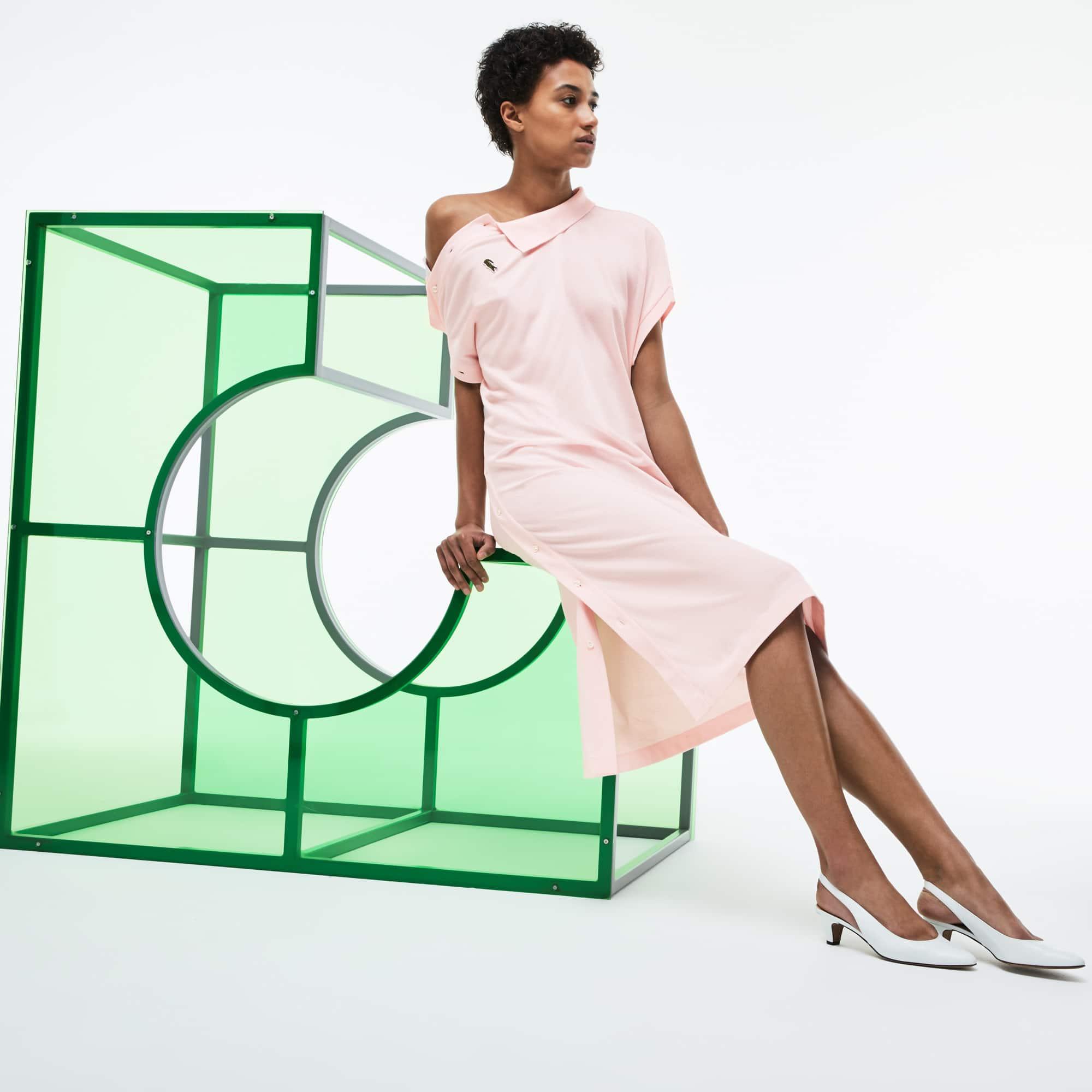 Vestido polo con mangas asimétricas de piqué de algodón Edición Desfile