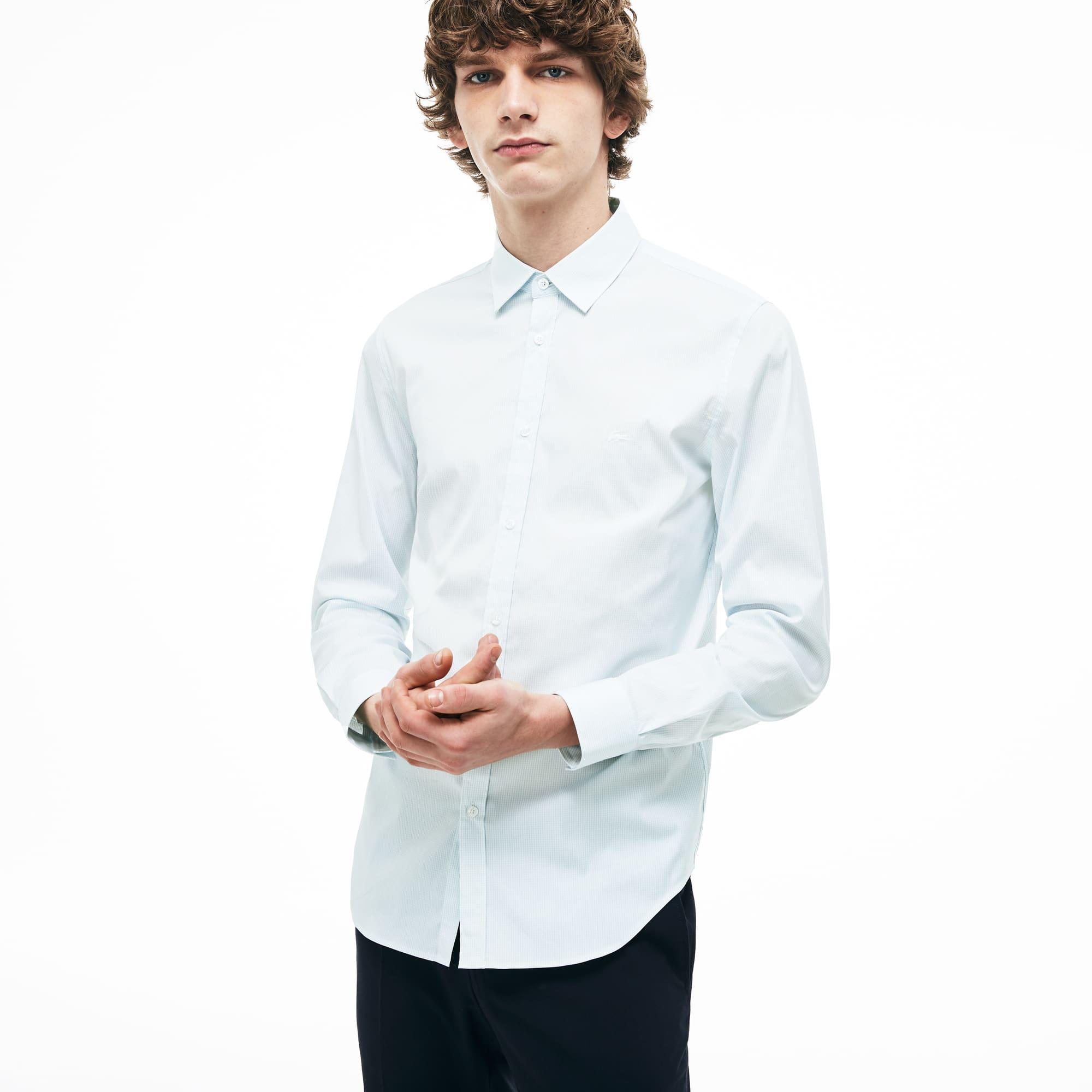 d2788af18 Camisa de hombre slim fit en popelín de algodón con estampado de cuadros  pequeños