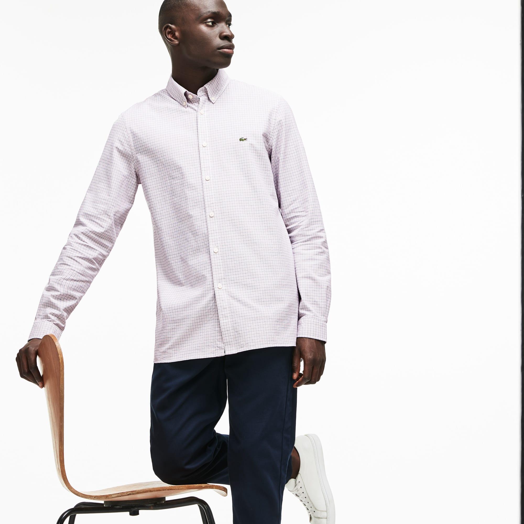 Lacoste - Camisa De Hombre Slim Fit En Algodón Oxford Elástico De Cuadros - 1