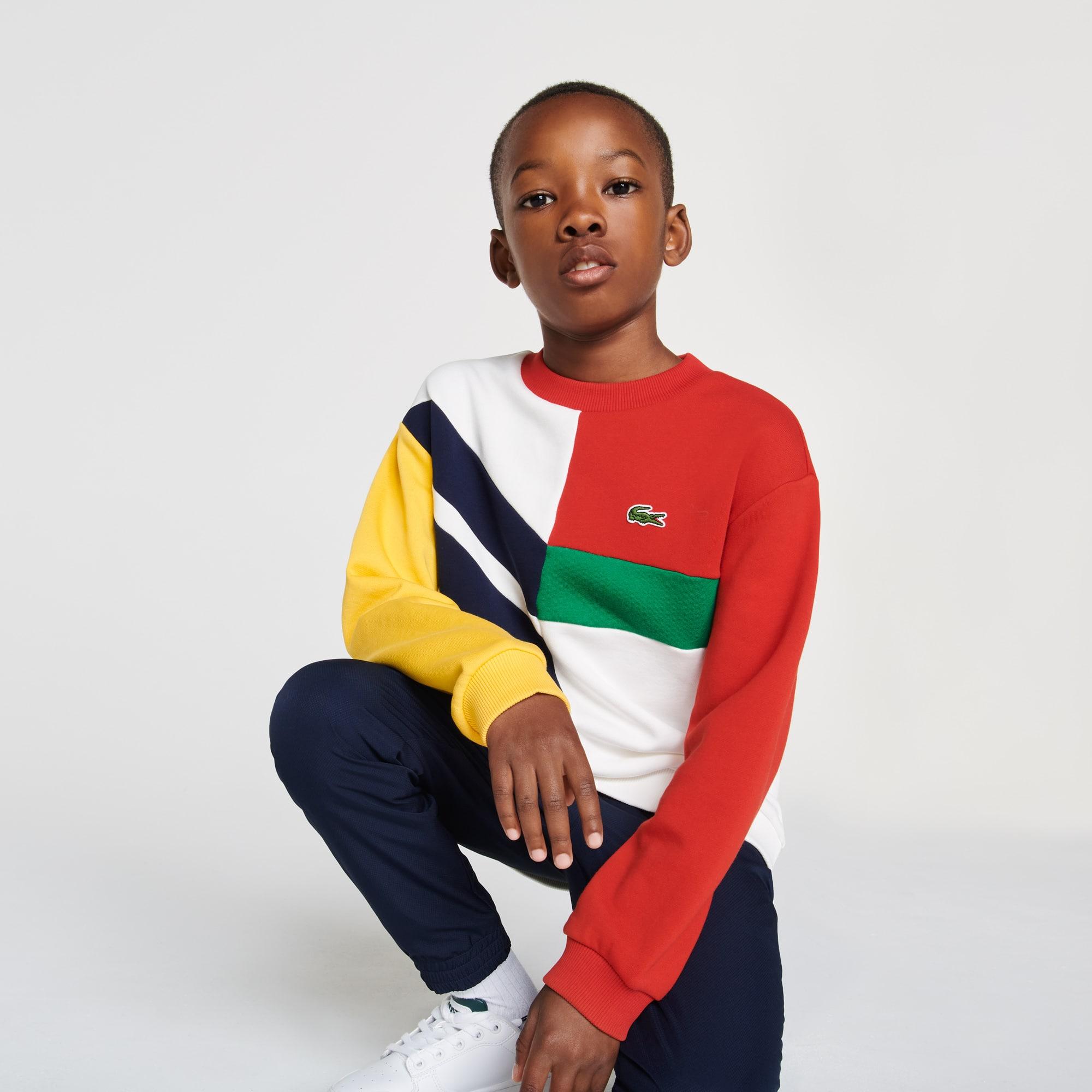 Lacoste Sweatshirt Garçon graphique en molleton de coton Taille 2 ans Blanc / Rouge / Vert / Bleu Ma