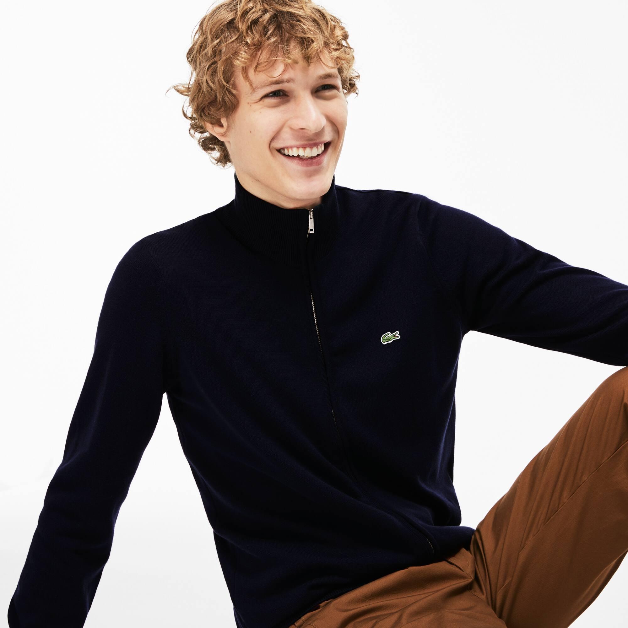 Gilet zippé col montant en jersey de coton uni