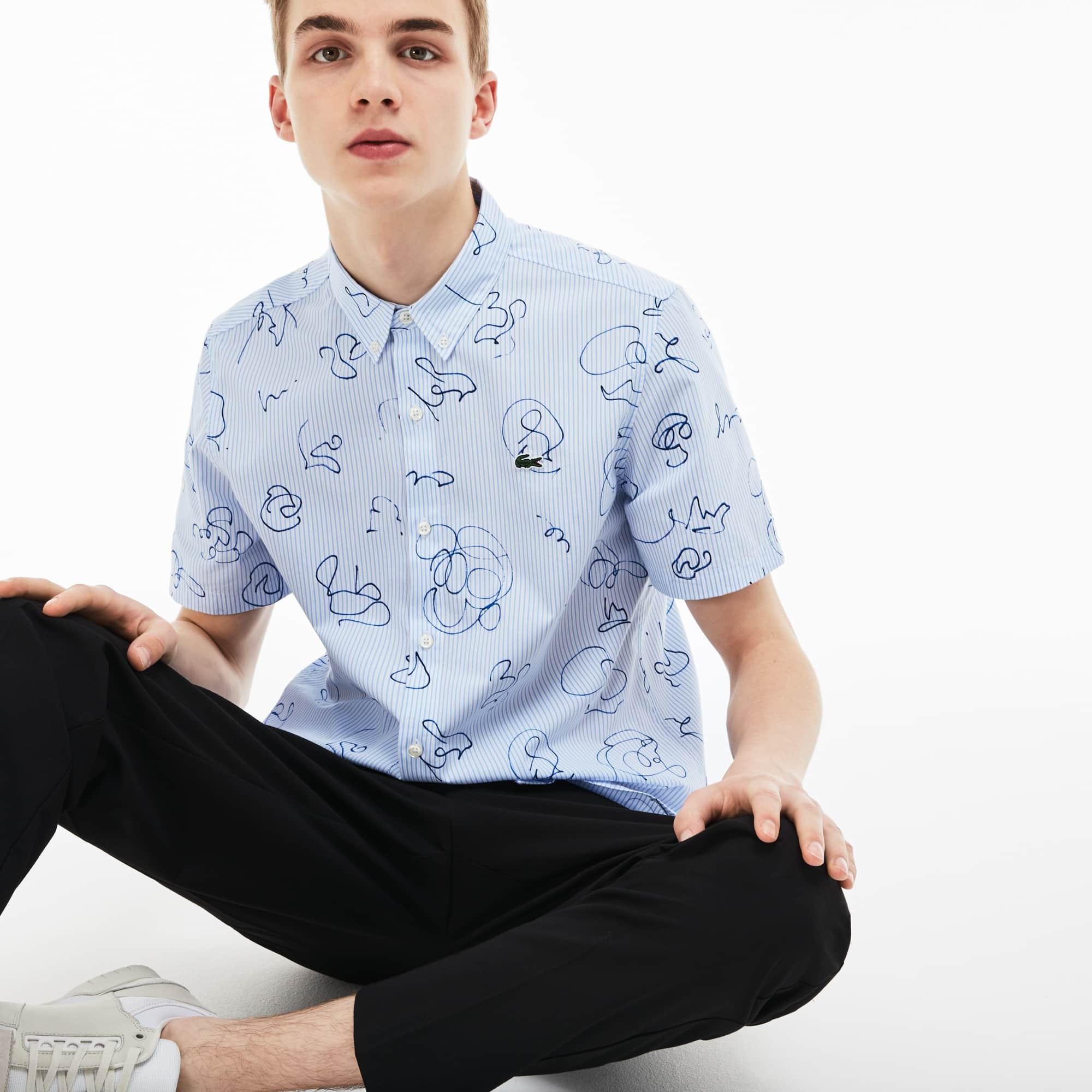 Chemise Lacoste LIVE à manches courtes en popeline rayée imprimée