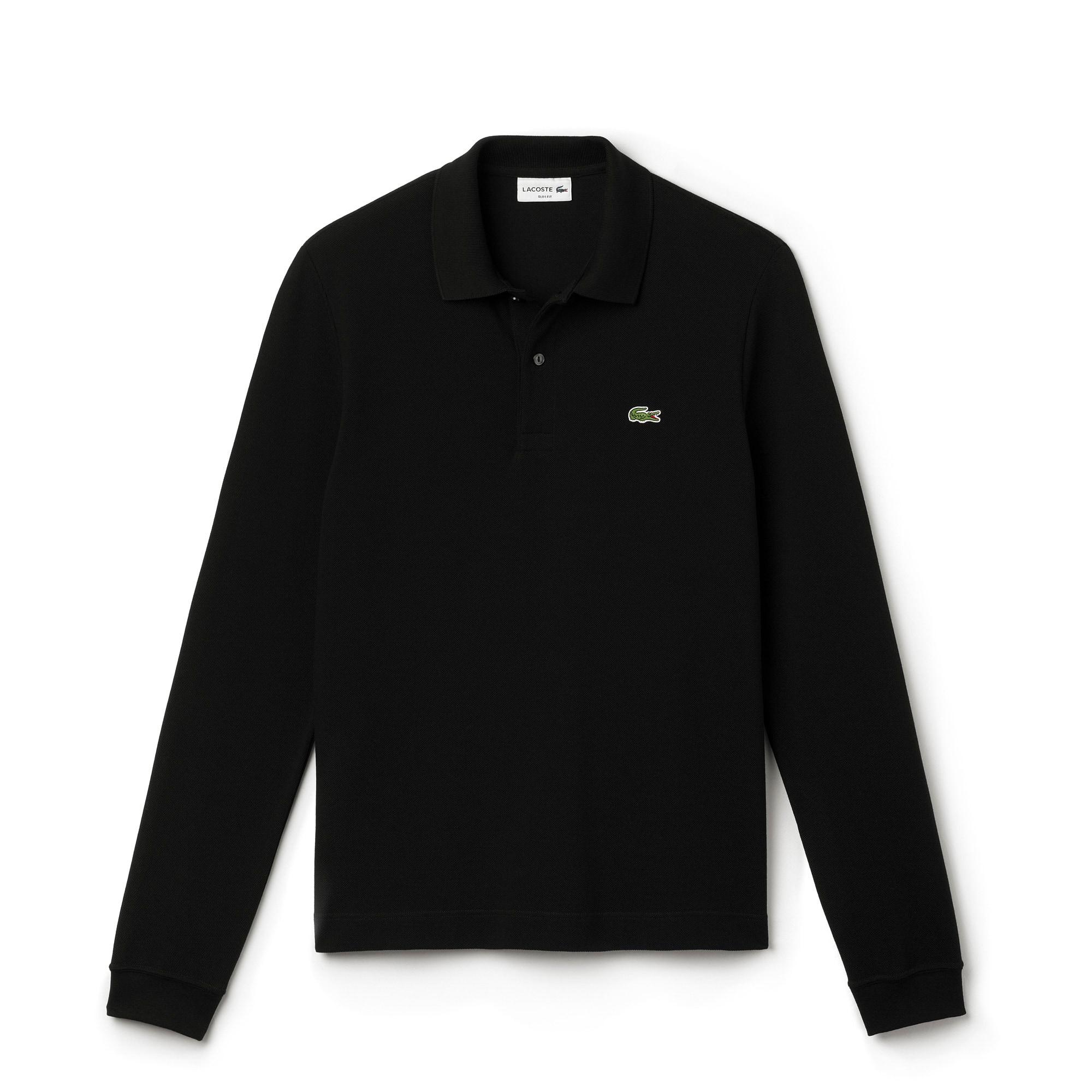 Polo Slim Fit Lacoste à Manches Longues En Petit Piqué Uni by Lacoste