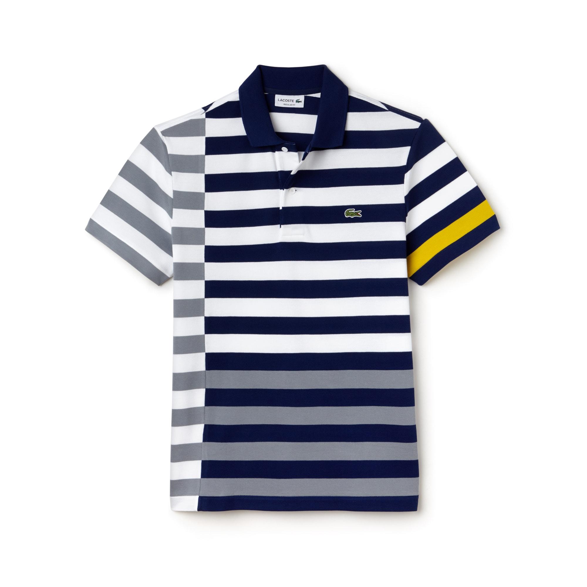 Polo regular fit Lacoste en petit piqué à rayures décalées et colorées