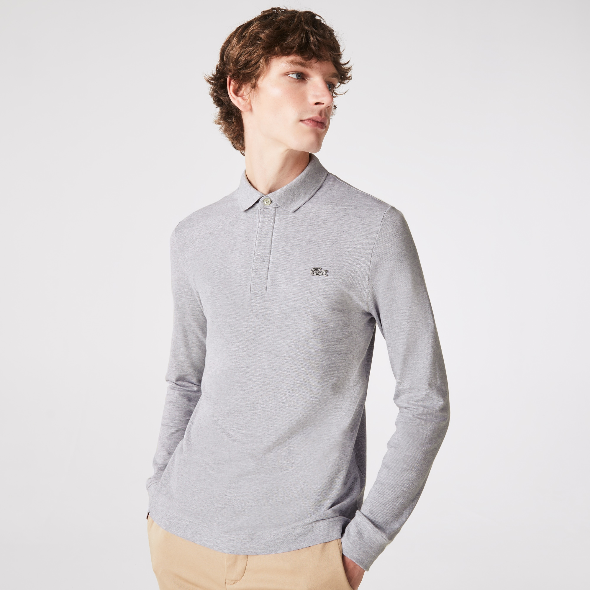 Paris Polo Regular Fit Lacoste manches longues en coton stretch