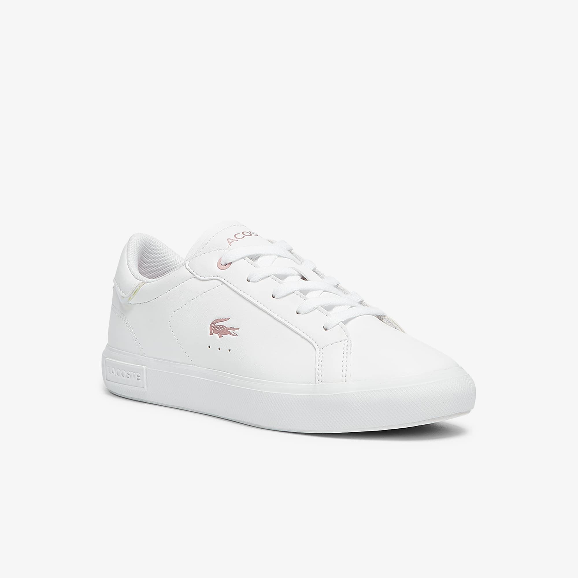 Lacoste Sneakers Powercourt enfant en tissu avec détails métallisés Taille 28.5 Blanc/rose
