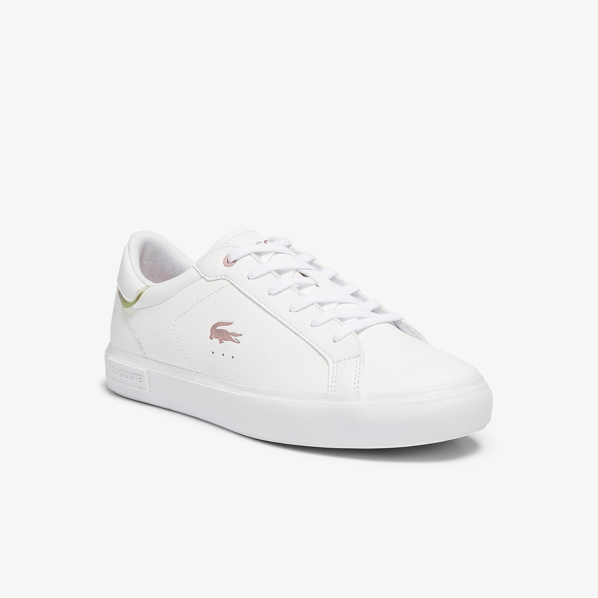 Lacoste Sneakers Powercourt ado en tissu avec détails métallisés Taille 36 Blanc/rose