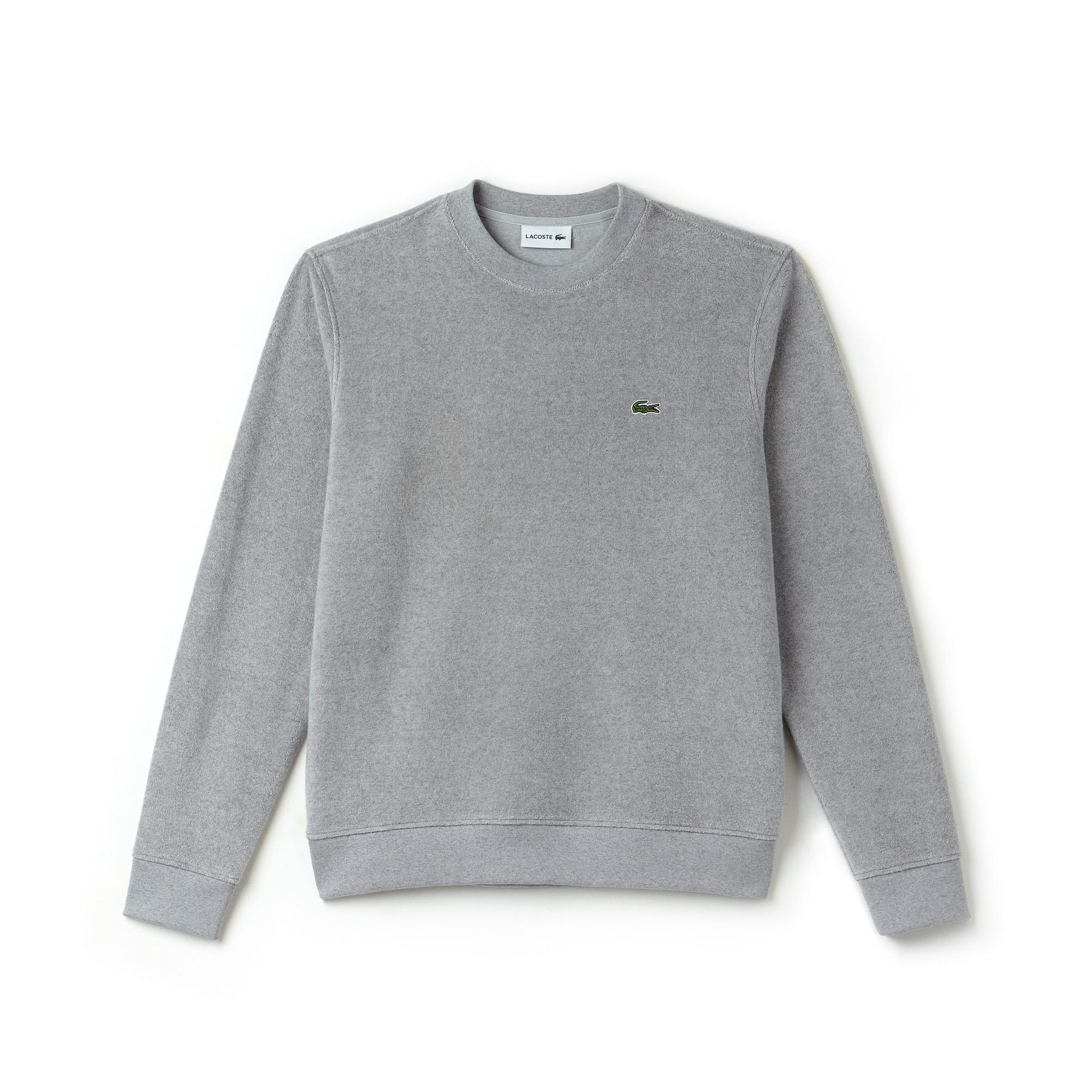 Sweatshirt col rond en coton éponge et cachemire uni