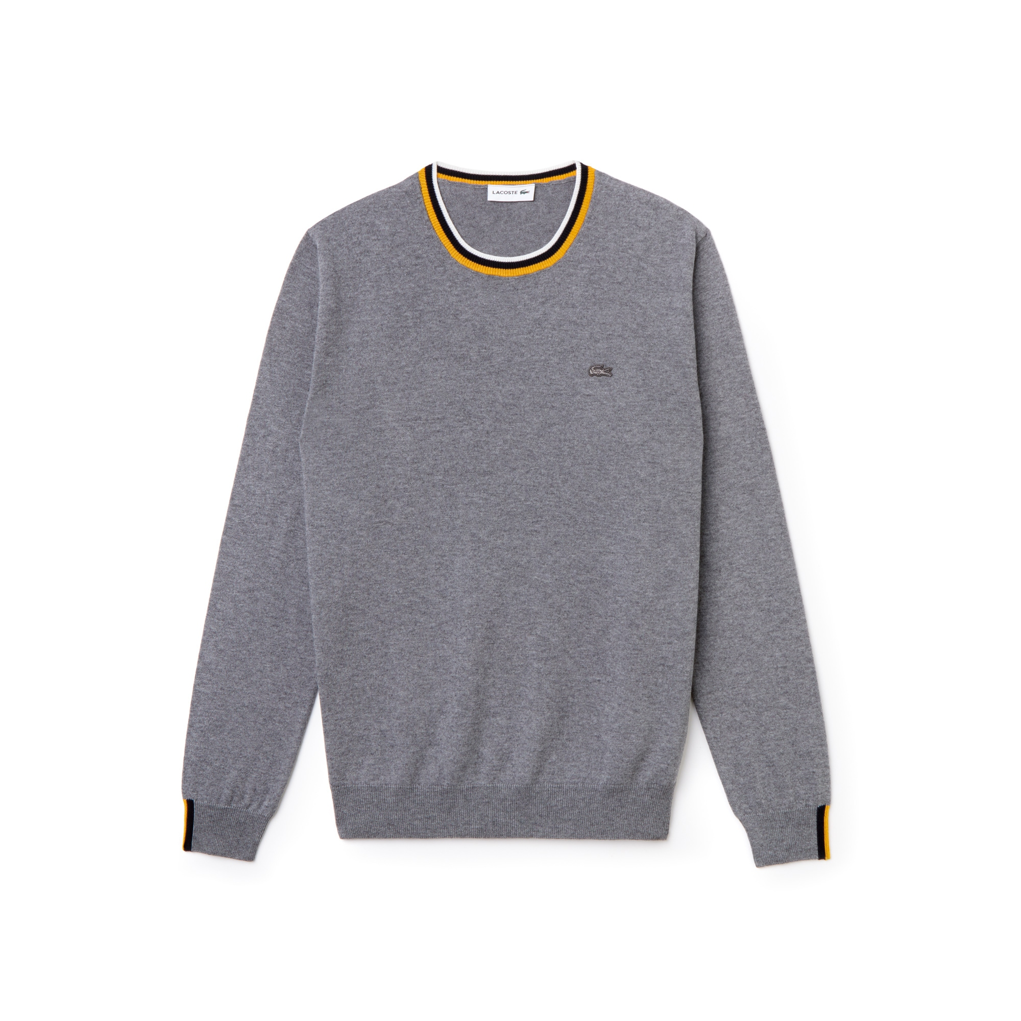 Pull col rond Lacoste en jersey uni à finitions rayées