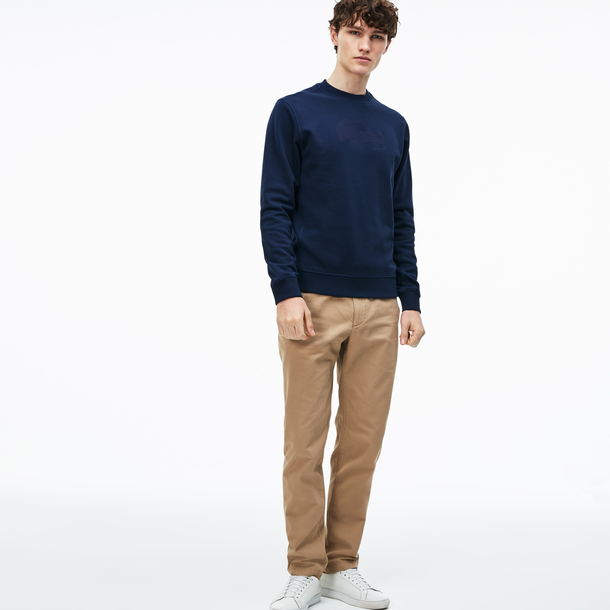Pantalon chino regular fit en gabardine de coton unie