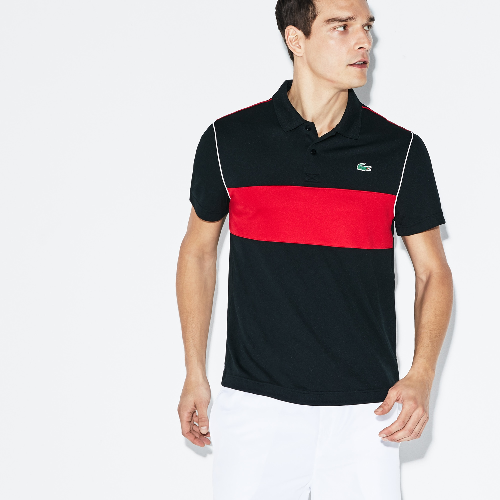 Polo Lacoste SPORT en piqué technique color block