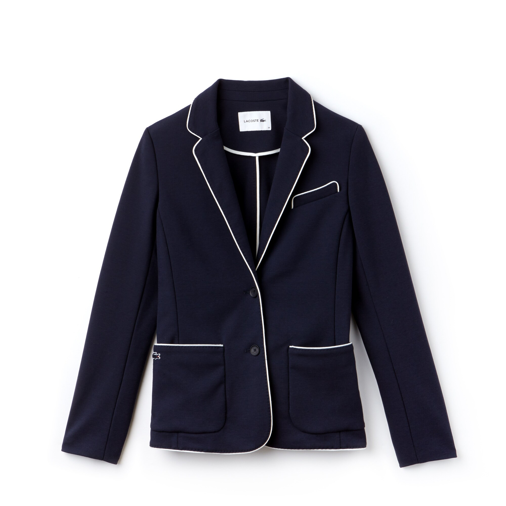 Blazer en crêpe interlock de coton unie avec piping