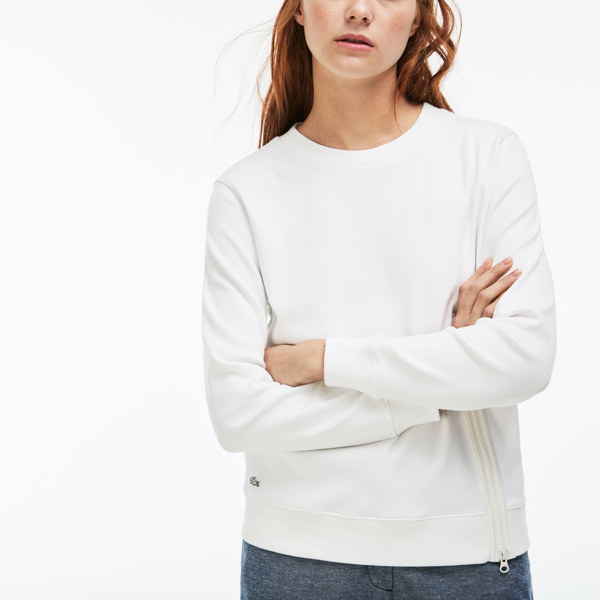 Sweatshirt col rond Lacoste LIVE en interlock avec fermeture zippée
