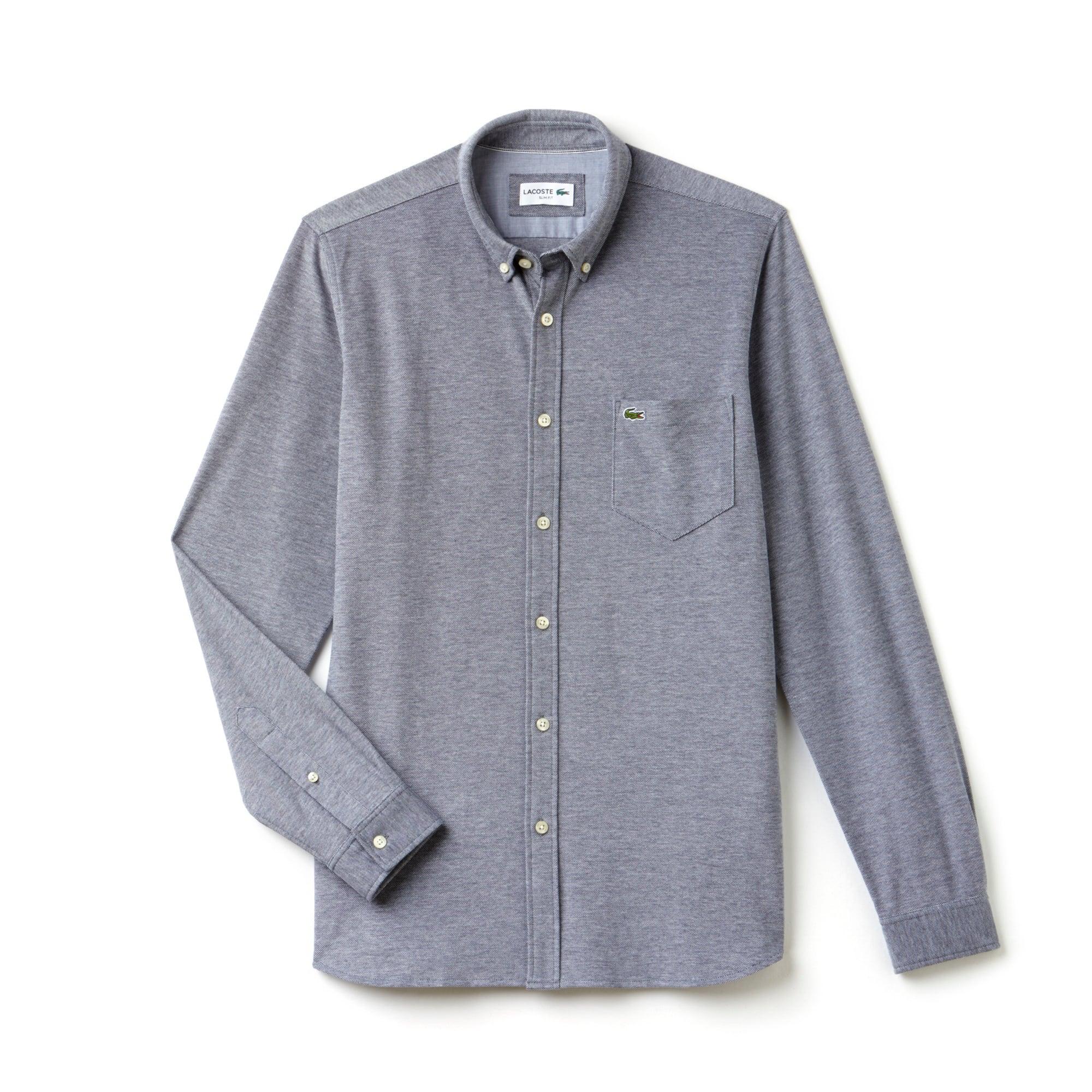 Chemise slim fit en jersey de coton uni