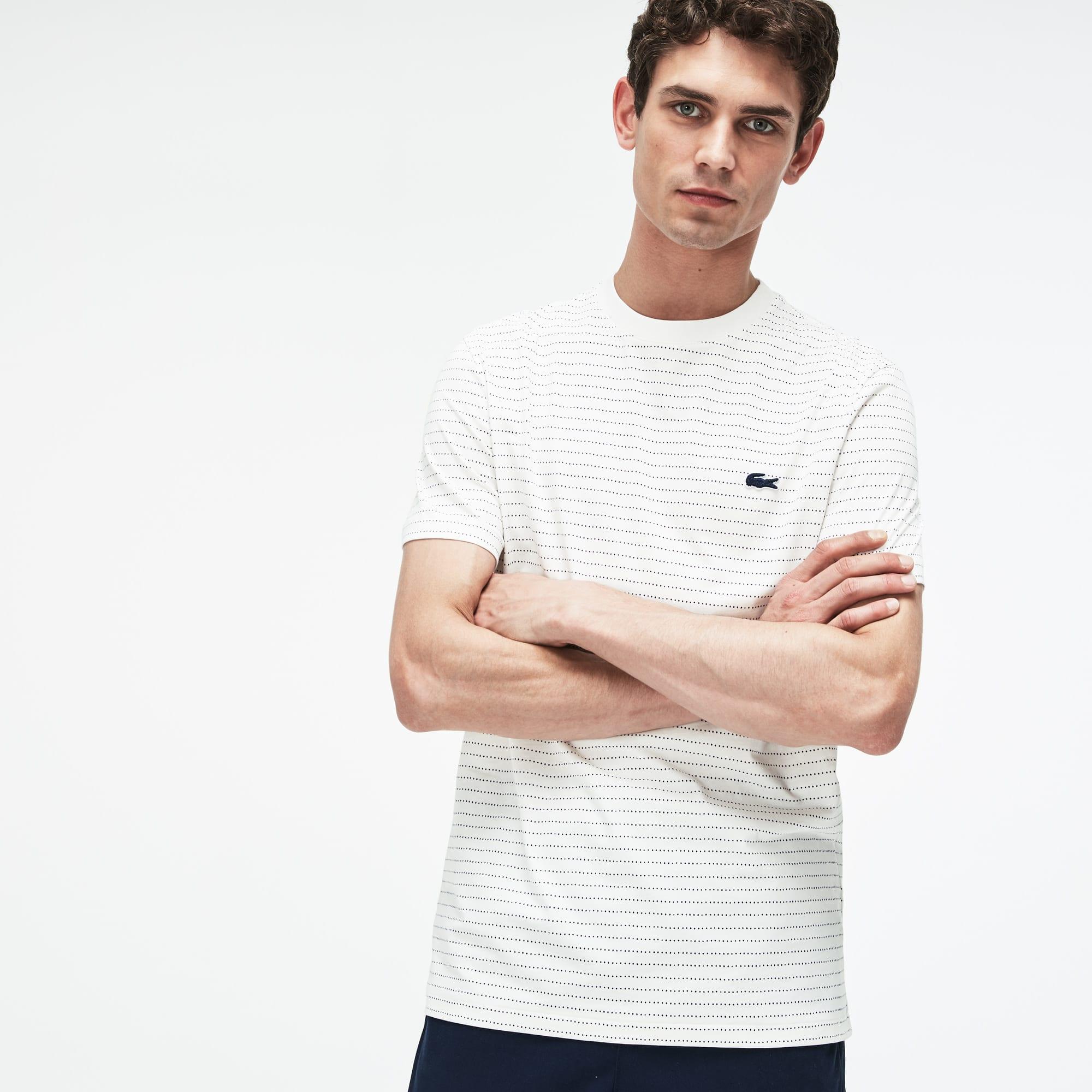 Lacoste - T-shirt col rond en jersey de coton imprimé filet - 1