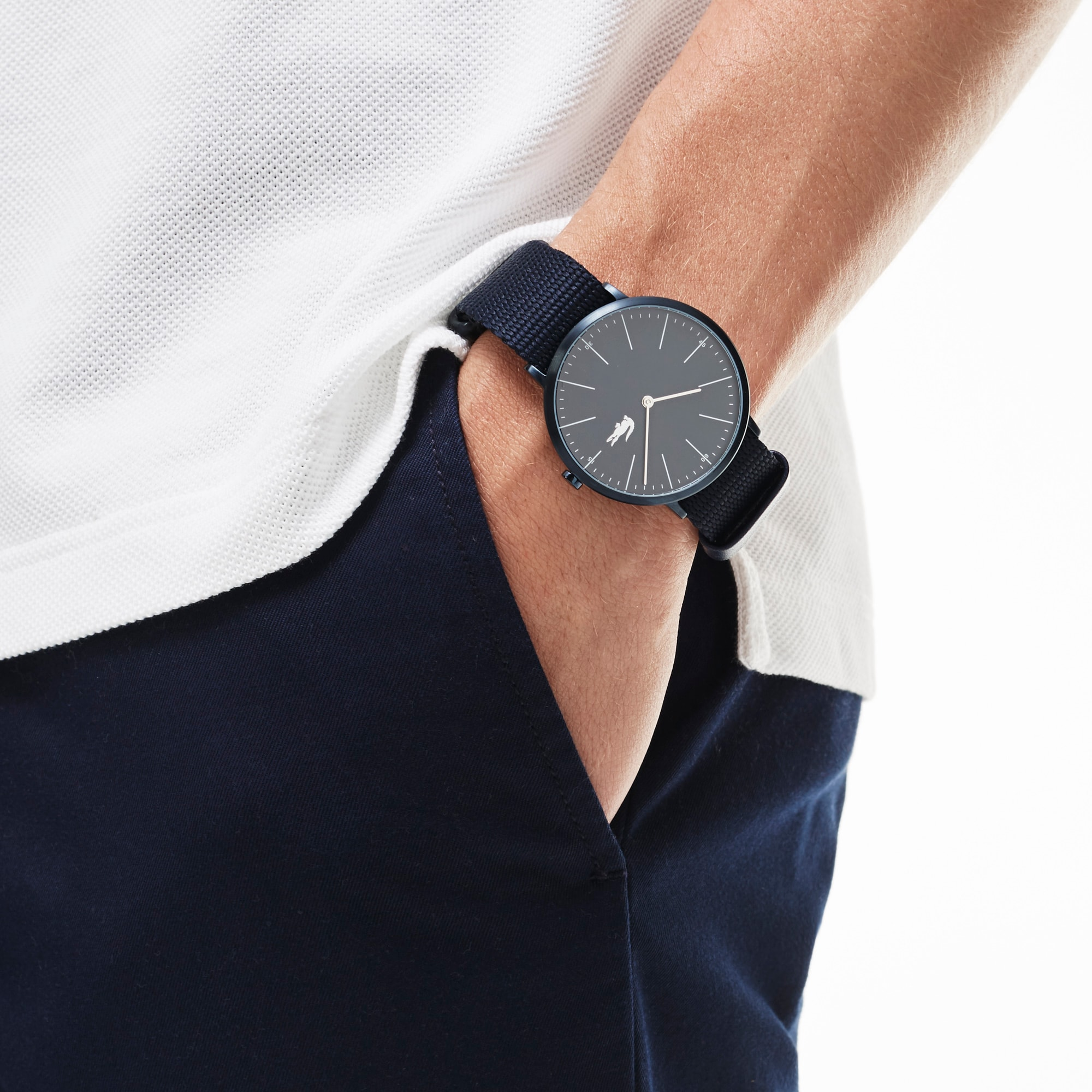 Montre Moon Homme avec Bracelet en Textile Bleu