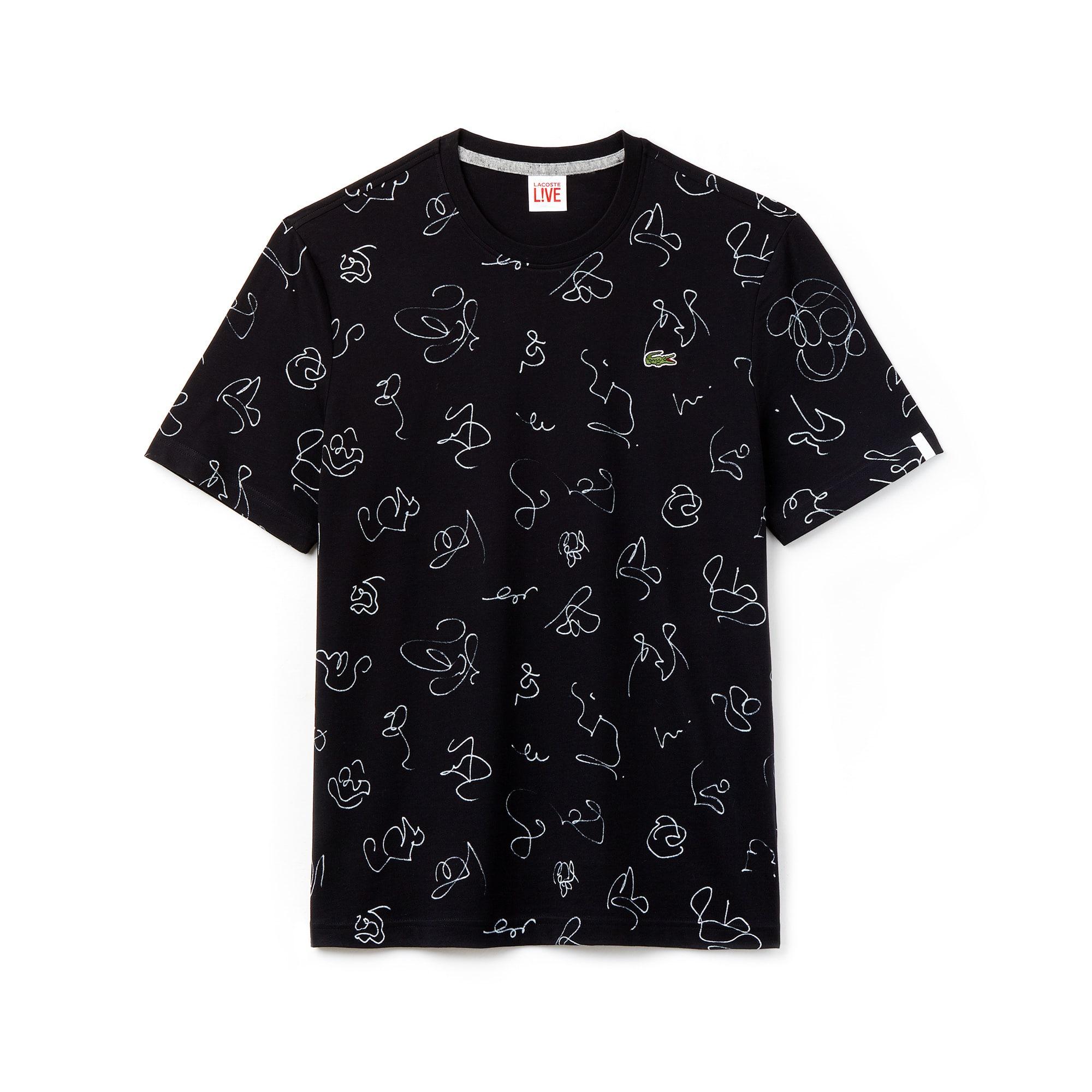 T-shirt col rond Lacoste LIVE en jersey de coton imprimé dessins