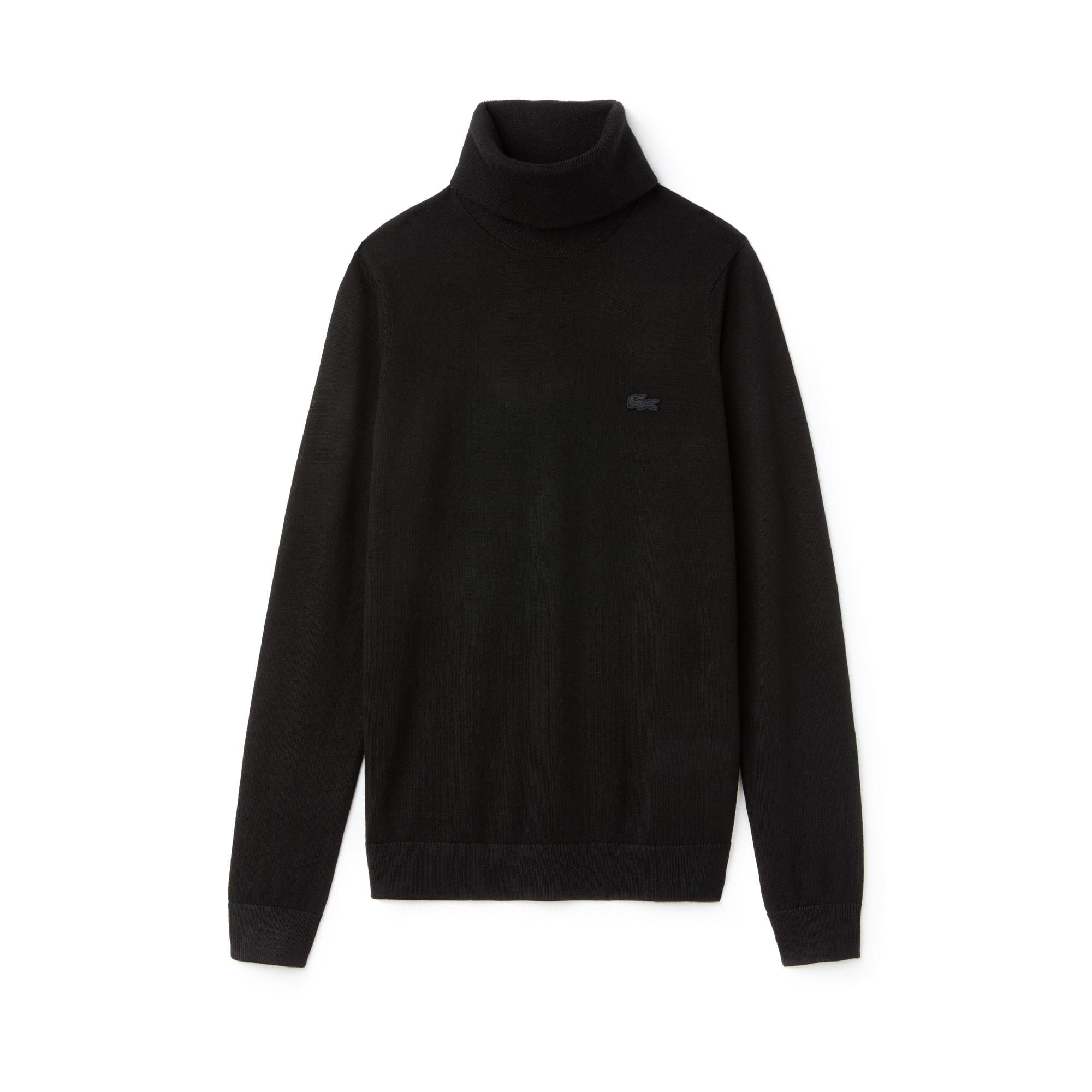 Pull col roulé en jersey de laine uni