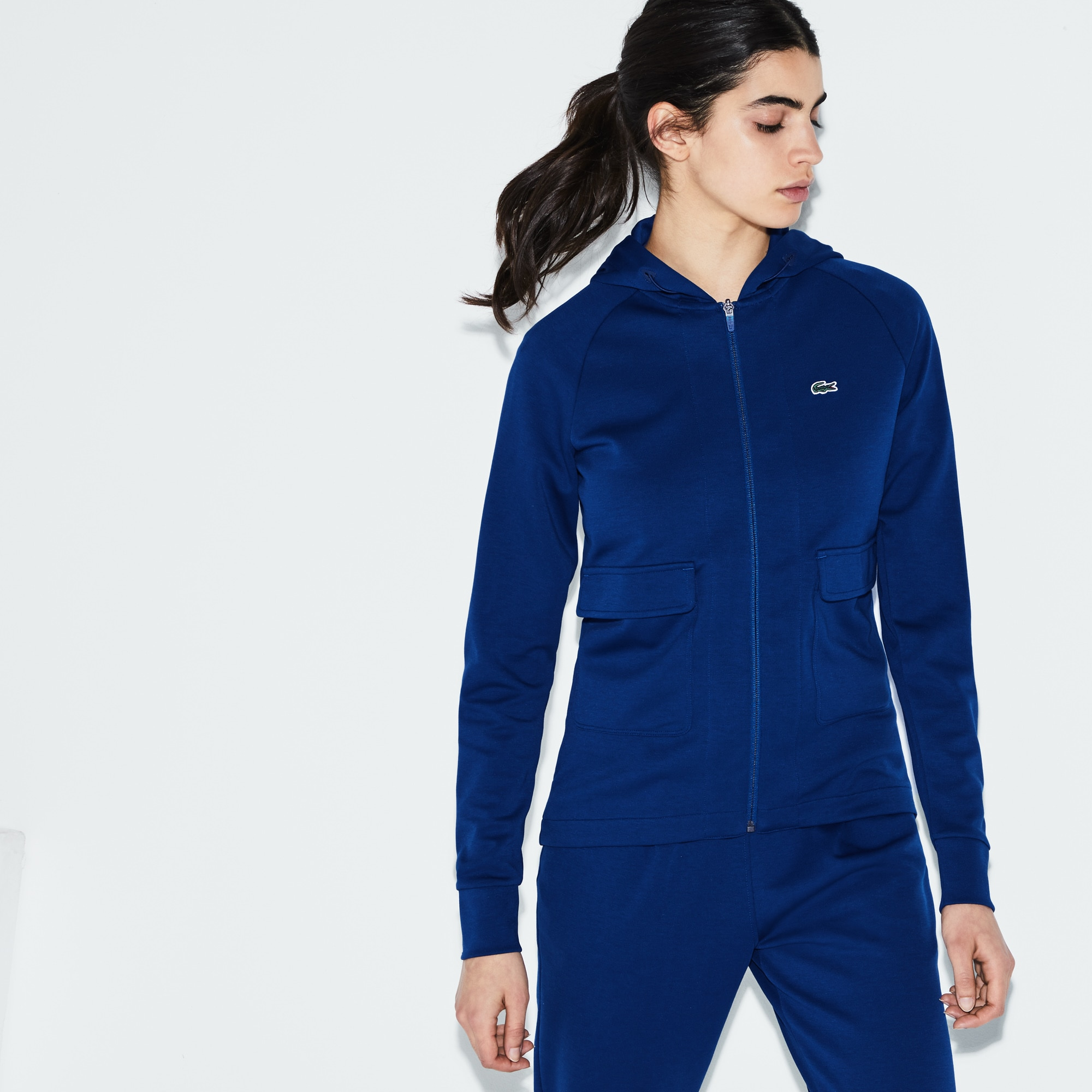 Sweatshirt zippé à capuche Tennis Lacoste SPORT en coton uni