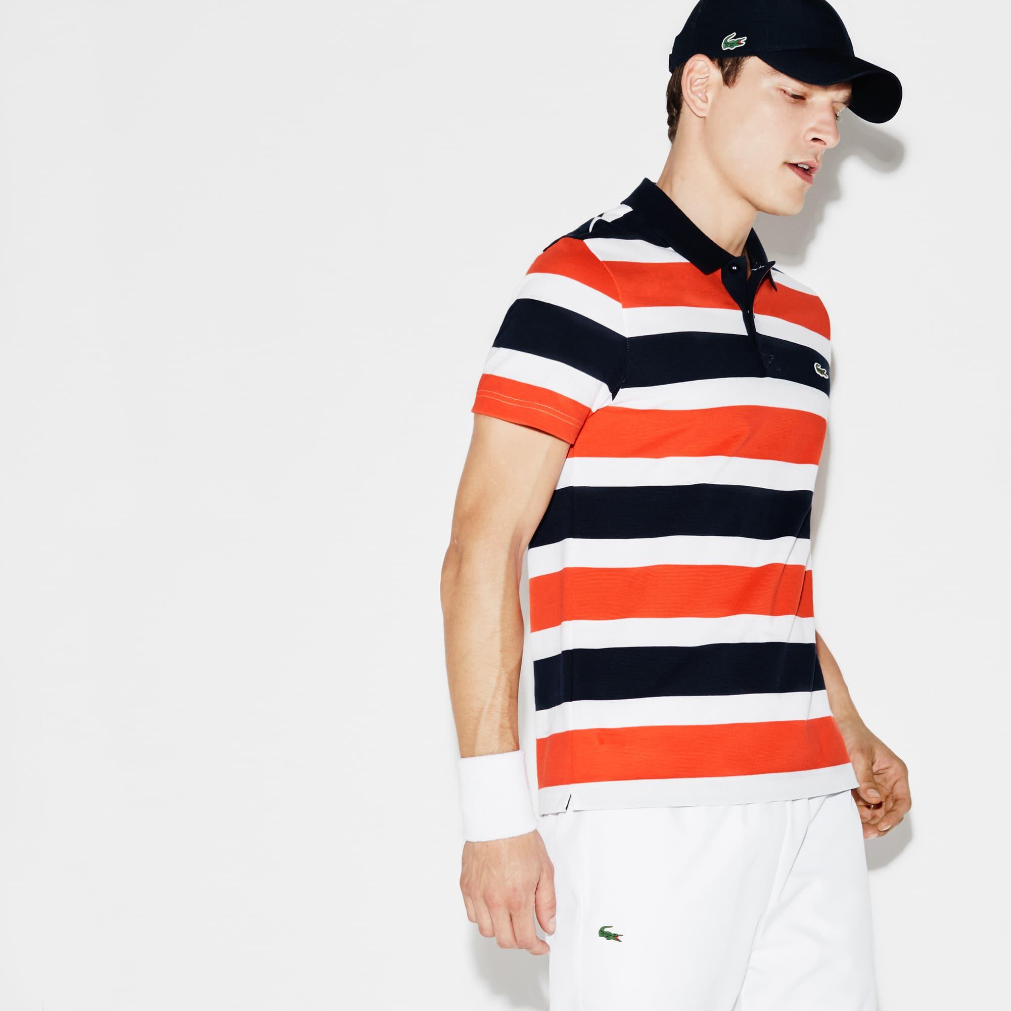 Polo Tennis Lacoste SPORT en maille ultra légère rayée