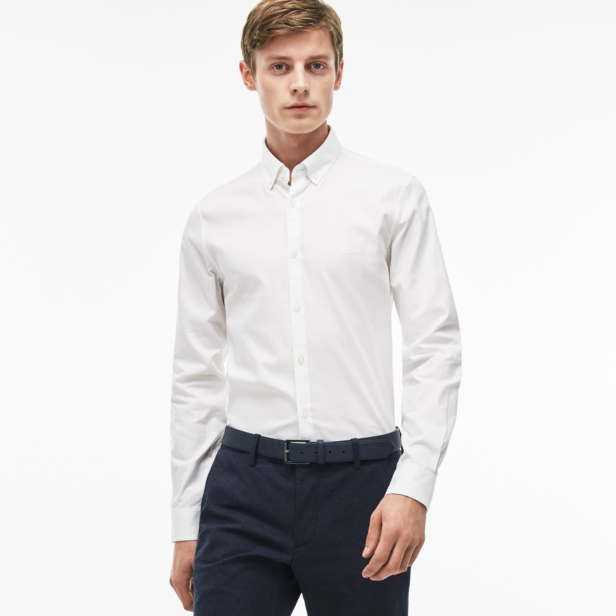 Chemise slim fit en pinpoint de coton stretch uni