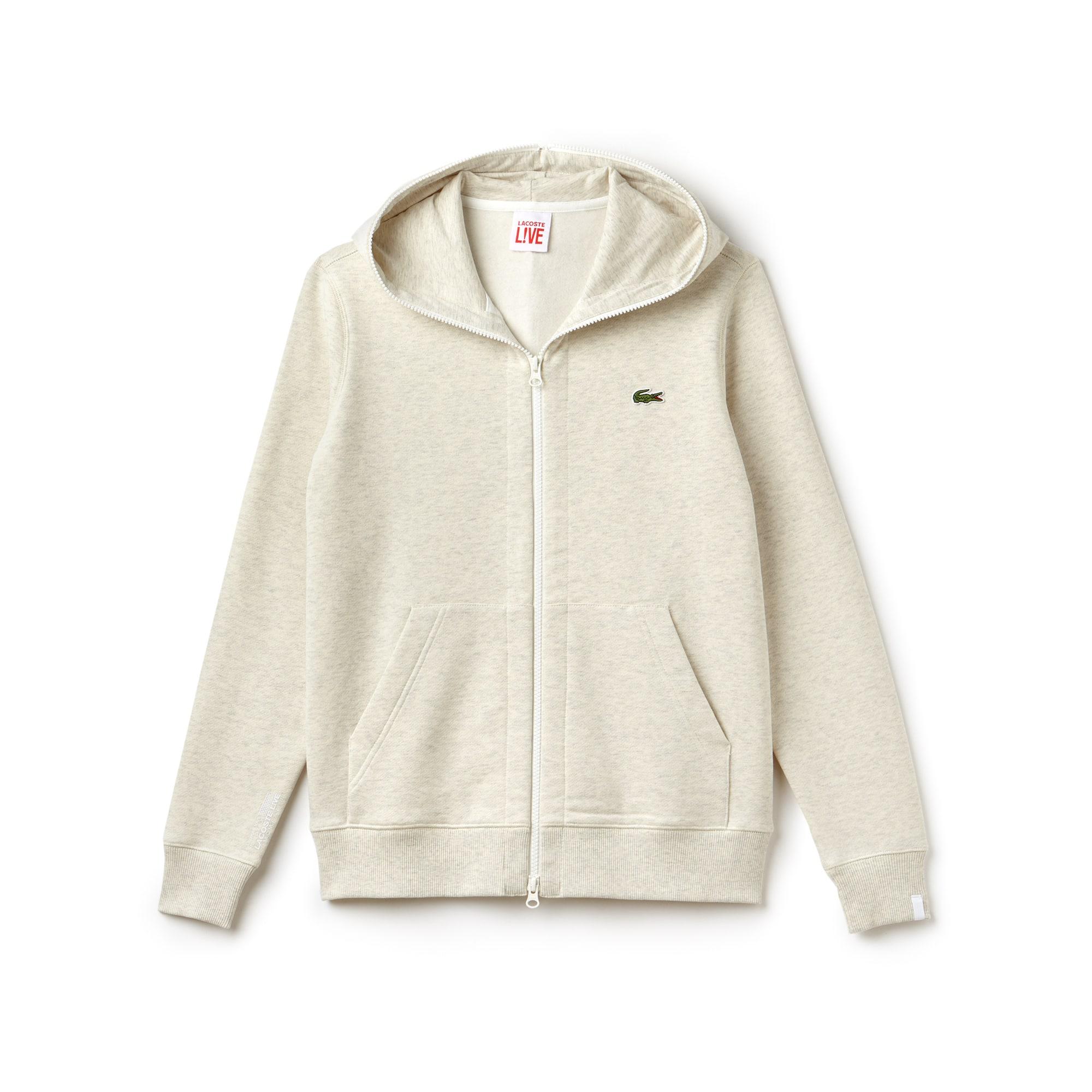 Sweatshirt zippé à capuche unisexe Lacoste LIVE en coton uni