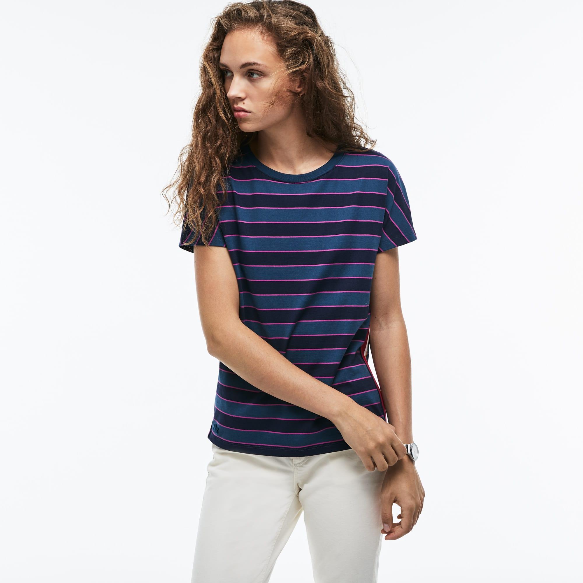 T-shirt col rond en jersey mercerisé de coton rayé color block