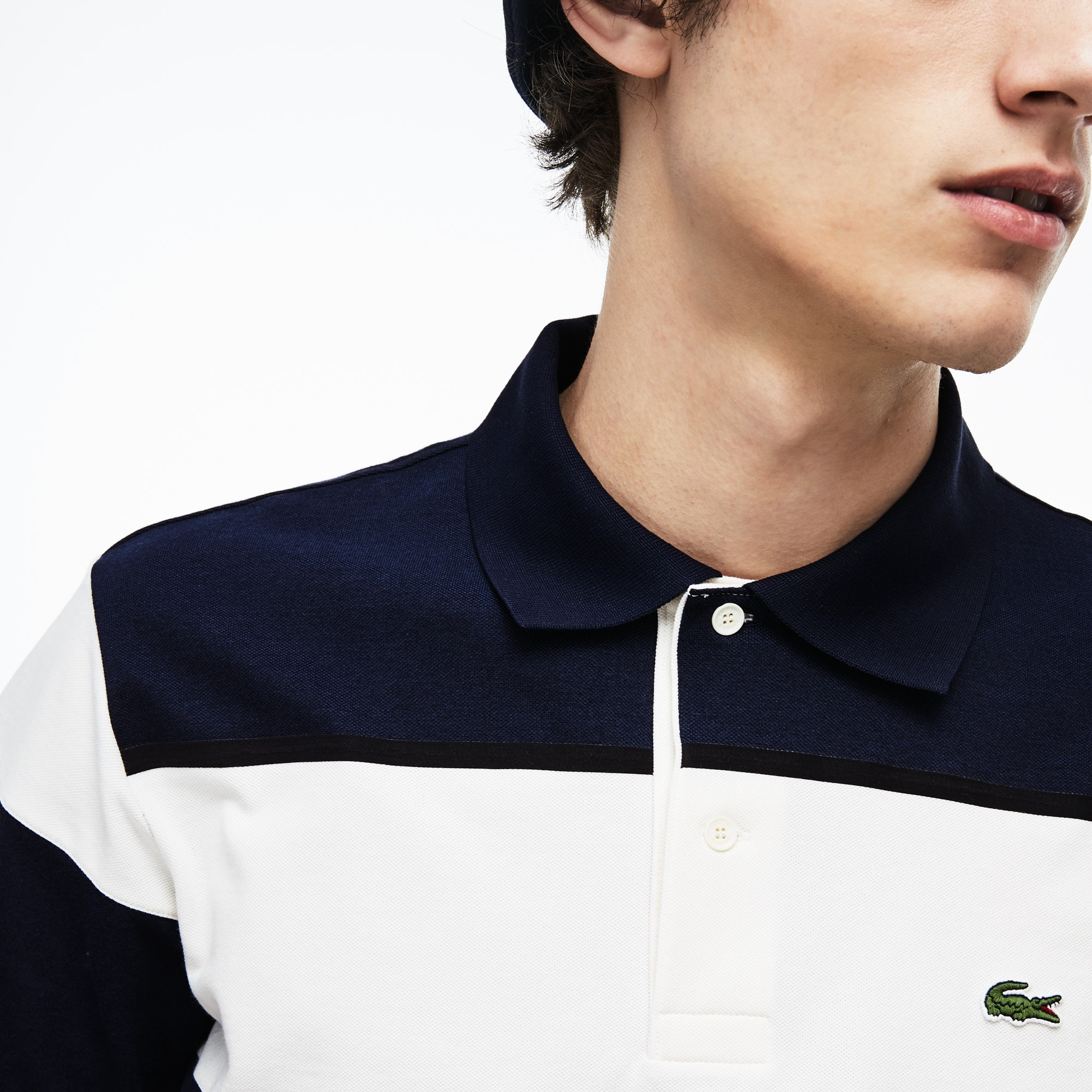 Polo Lacoste en piqué à rayures color-block