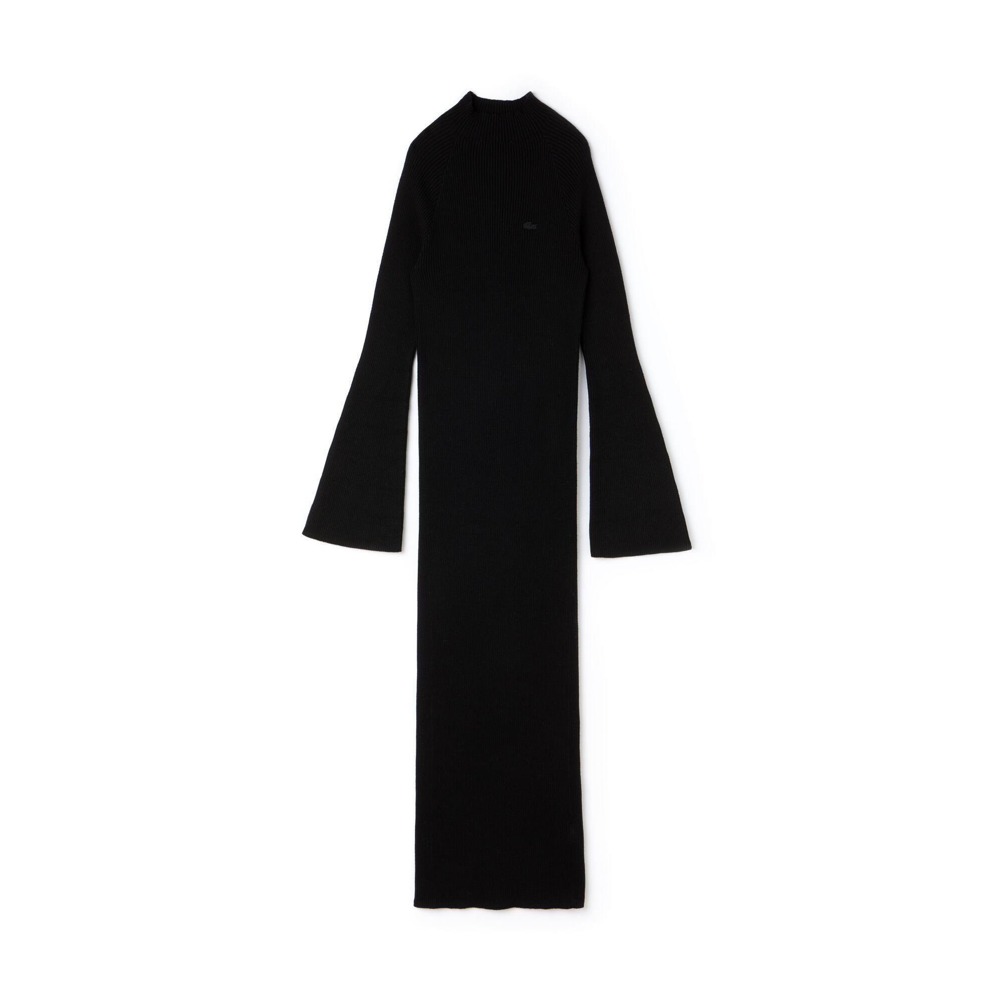Robe longue moulante Lacoste LIVE en coton et cachemire côtelés
