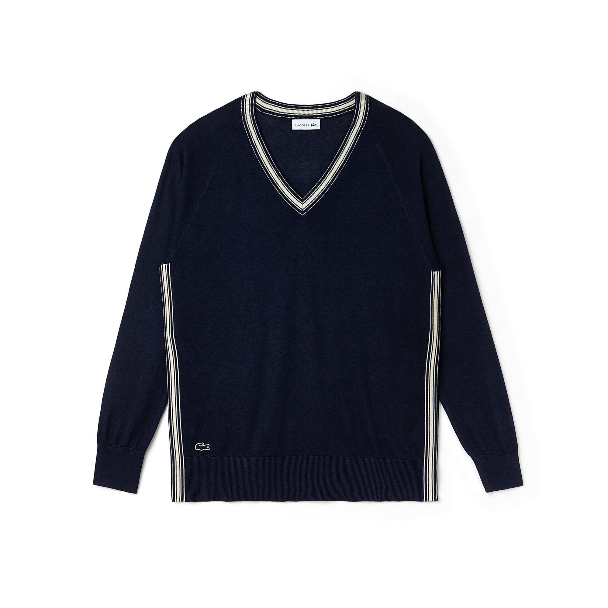 Pull col V fendu en jersey de soie et coton avec piping