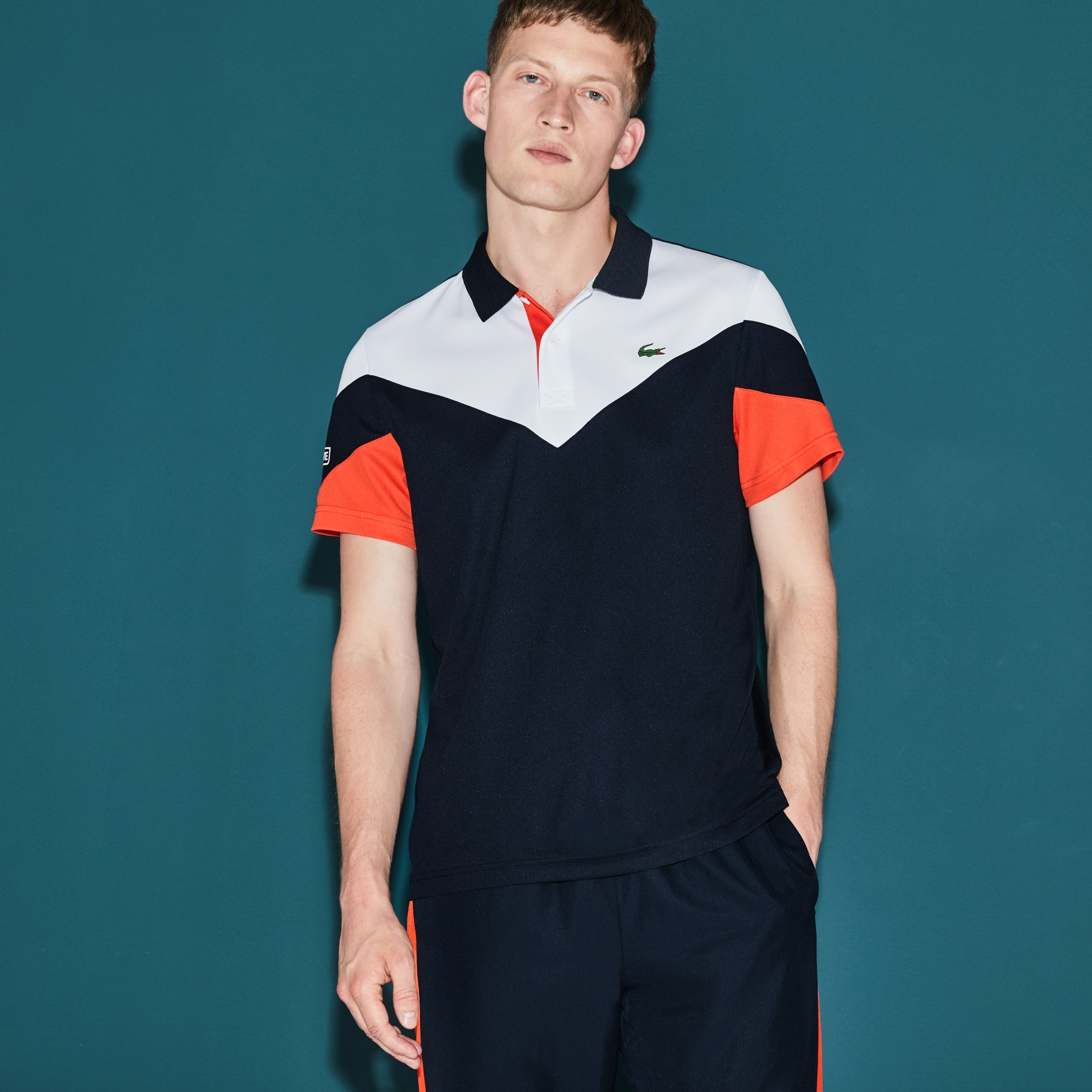 Polo Tennis Lacoste SPORT en piqué technique color block