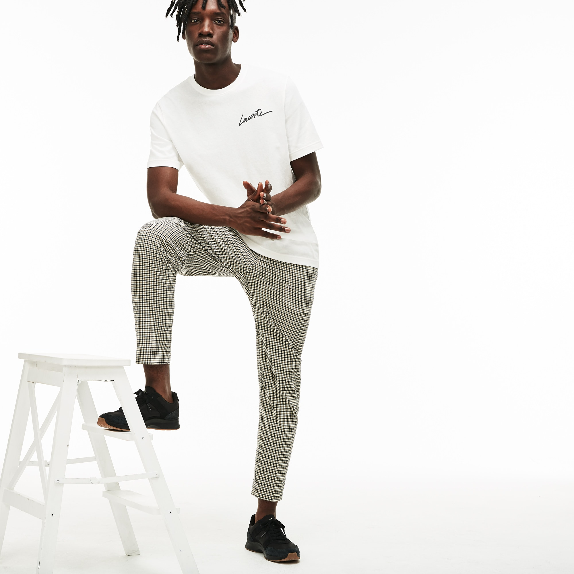 T-shirt col rond Lacoste LIVE en jersey avec signature Lacoste