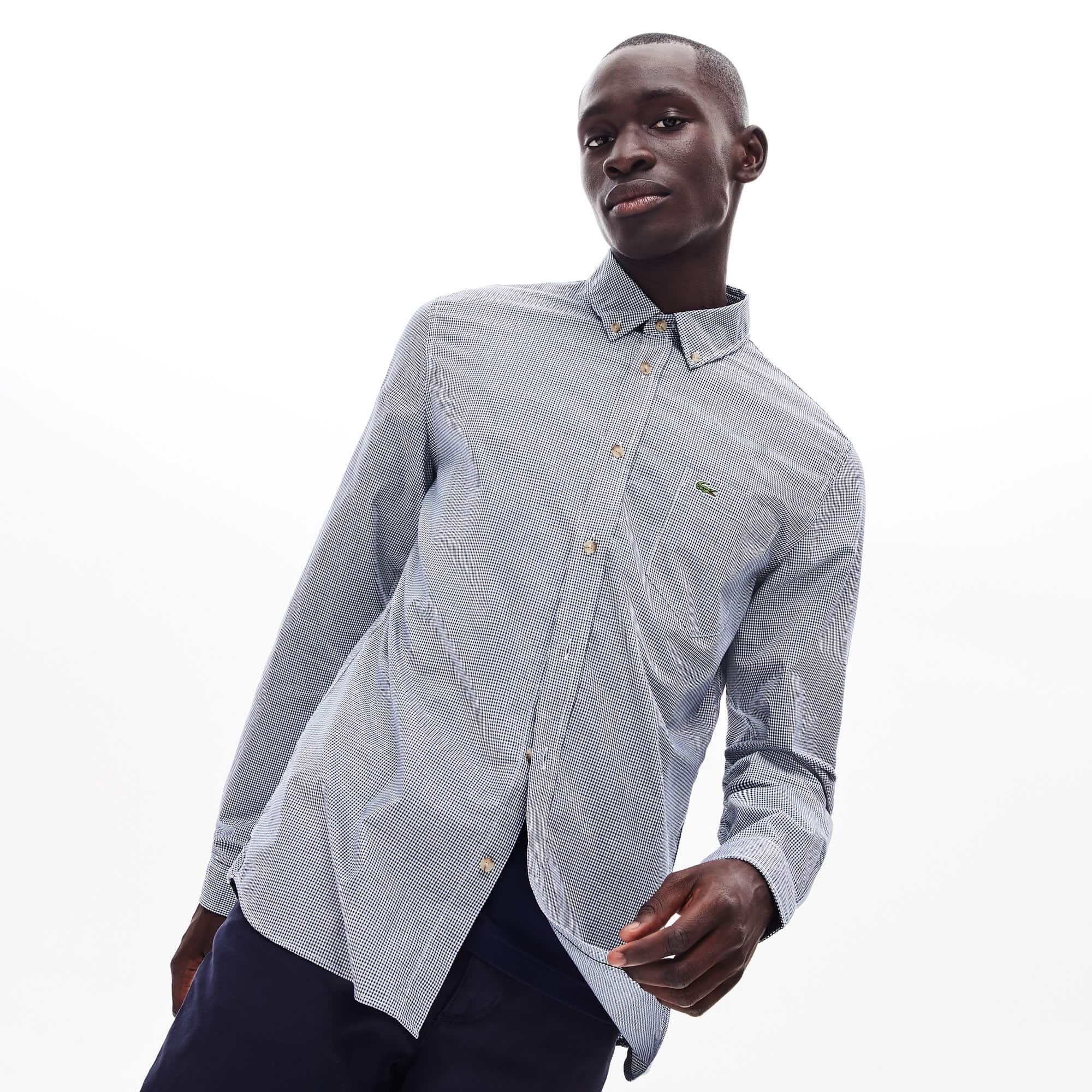 100/% coton boutonnée LACOSTE Chemise à manches longues en Bleu Marine Foncé