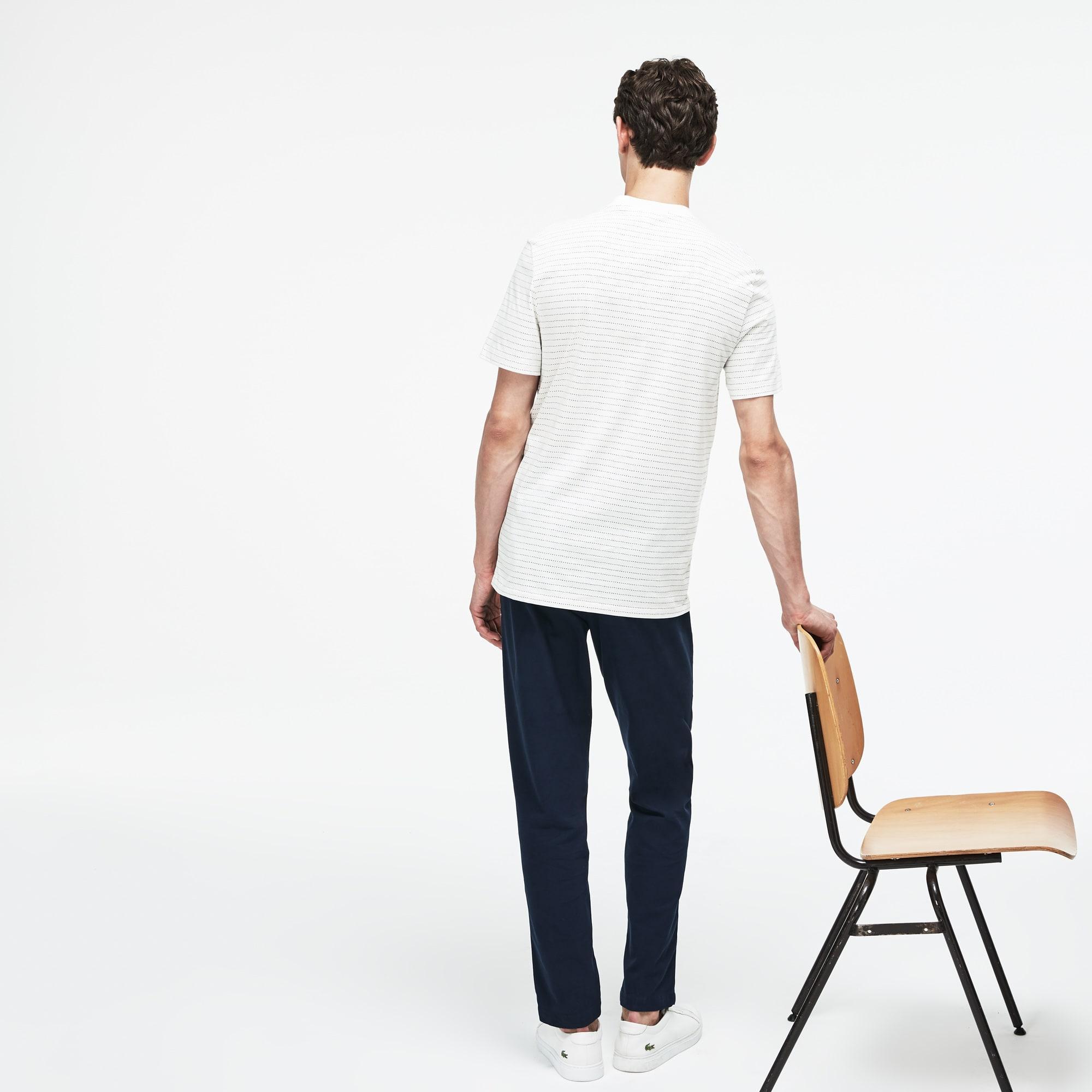 Lacoste - T-shirt col rond en jersey de coton imprimé filet - 2
